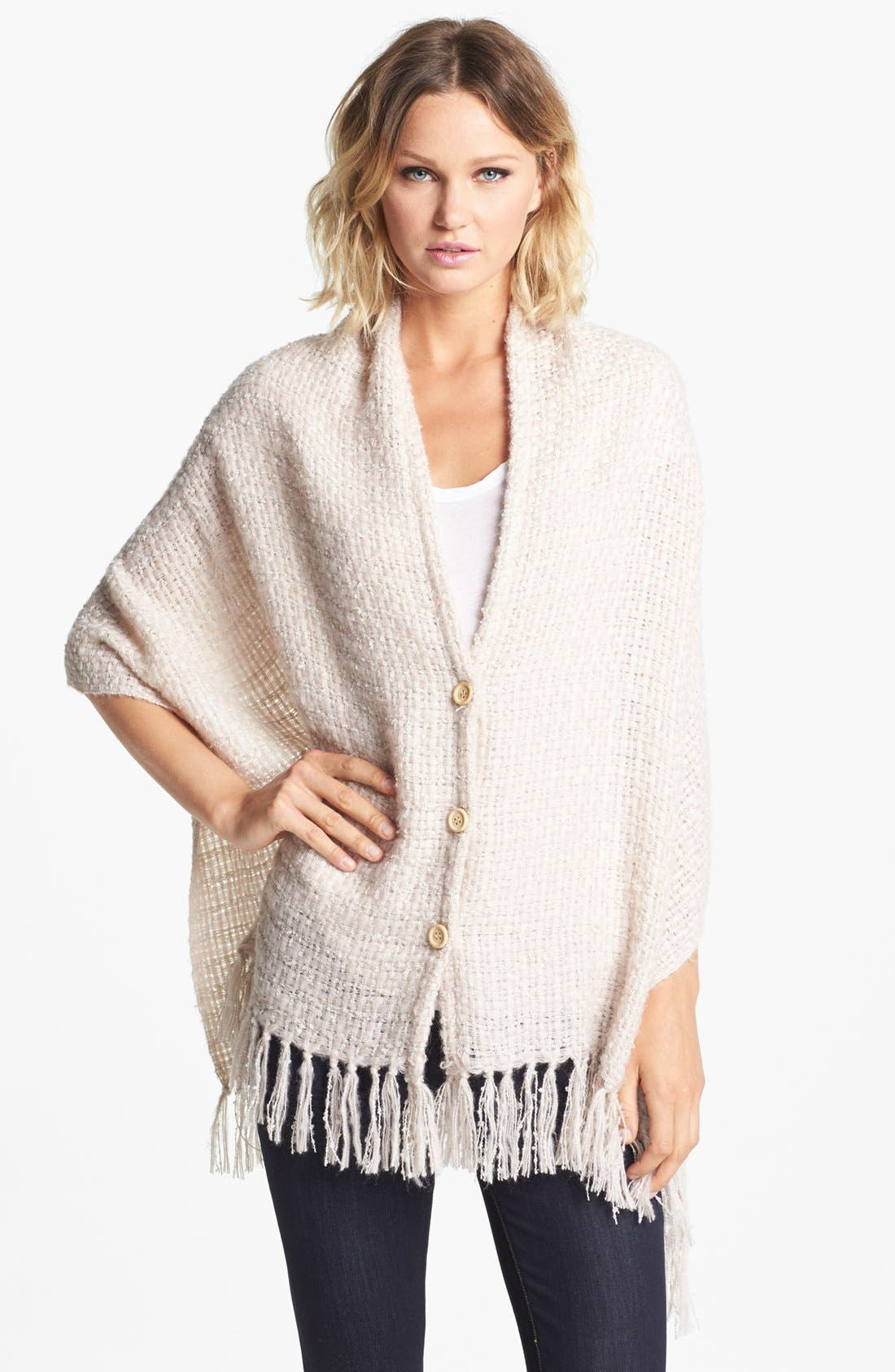 Alternate Image 1 Selected - Nordstrom Fringed Button Front Wrap