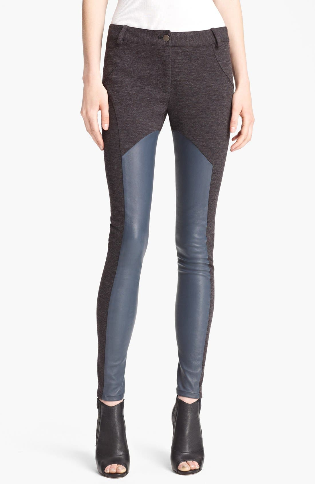 Alternate Image 1 Selected - Thakoon Colorblock Leather & Ponte Leggings
