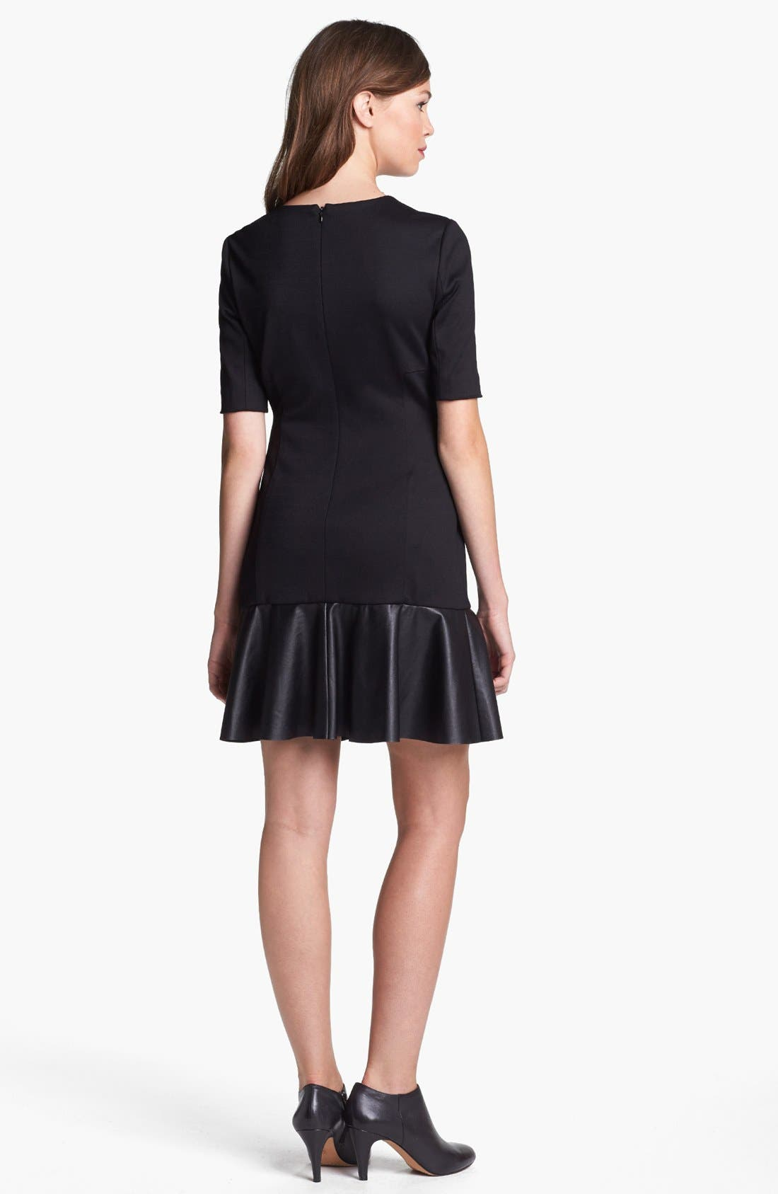 Alternate Image 2  - Cynthia Steffe Faux Leather Detail Drop Waist Dress (Online Only)