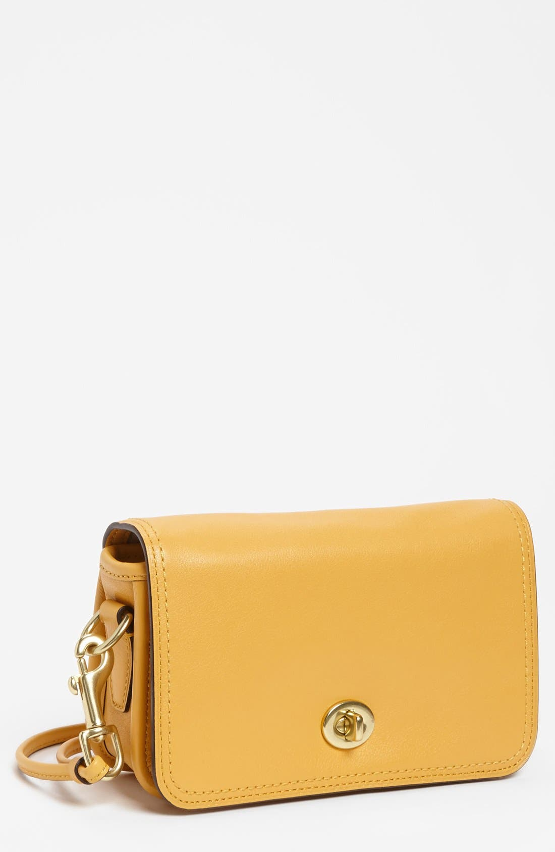 Leather Crossbody Bag,                         Main,                         color, Mustard