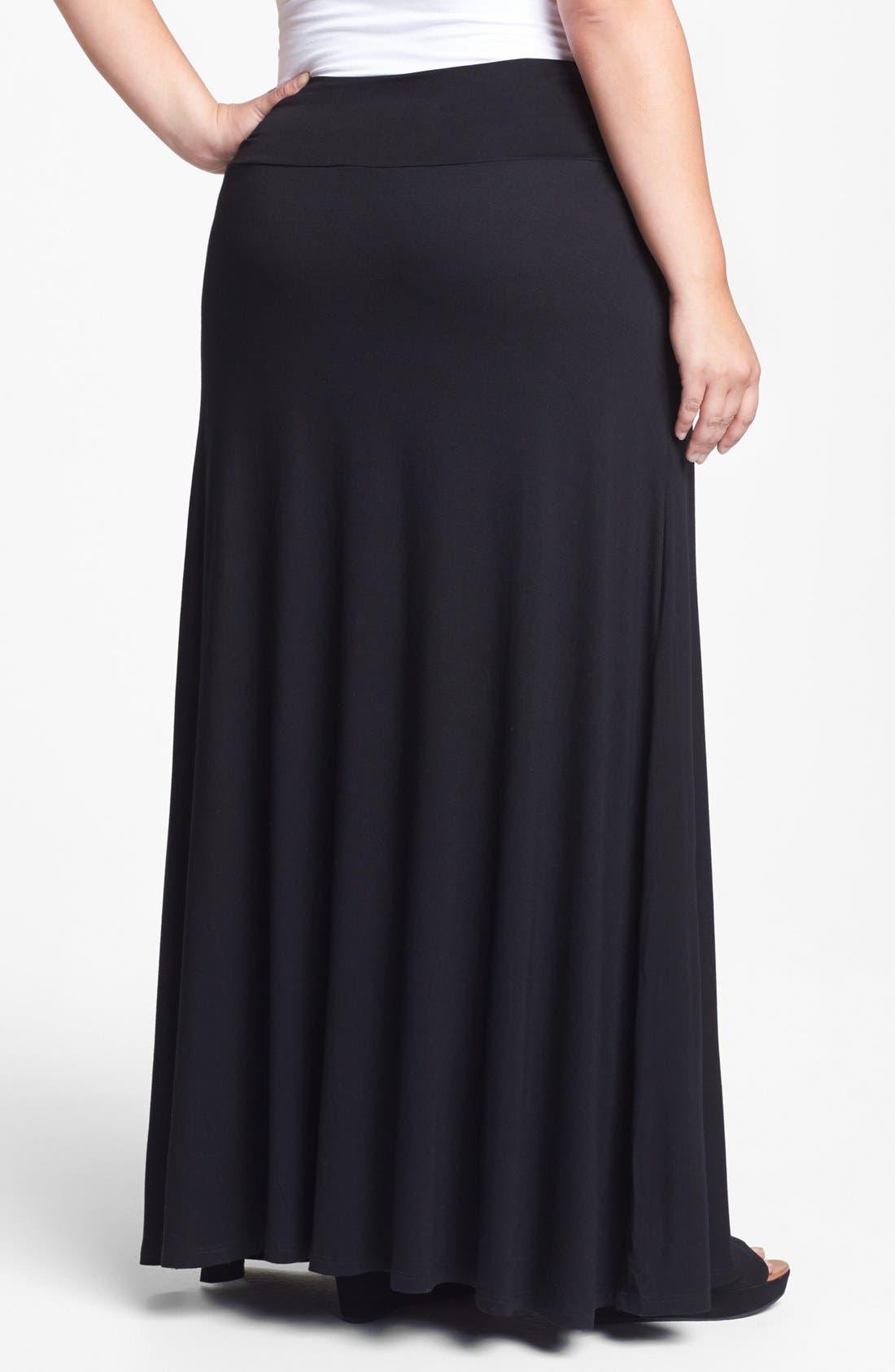 Alternate Image 2  - Bobeau Knit Maxi Skirt (Plus Size)