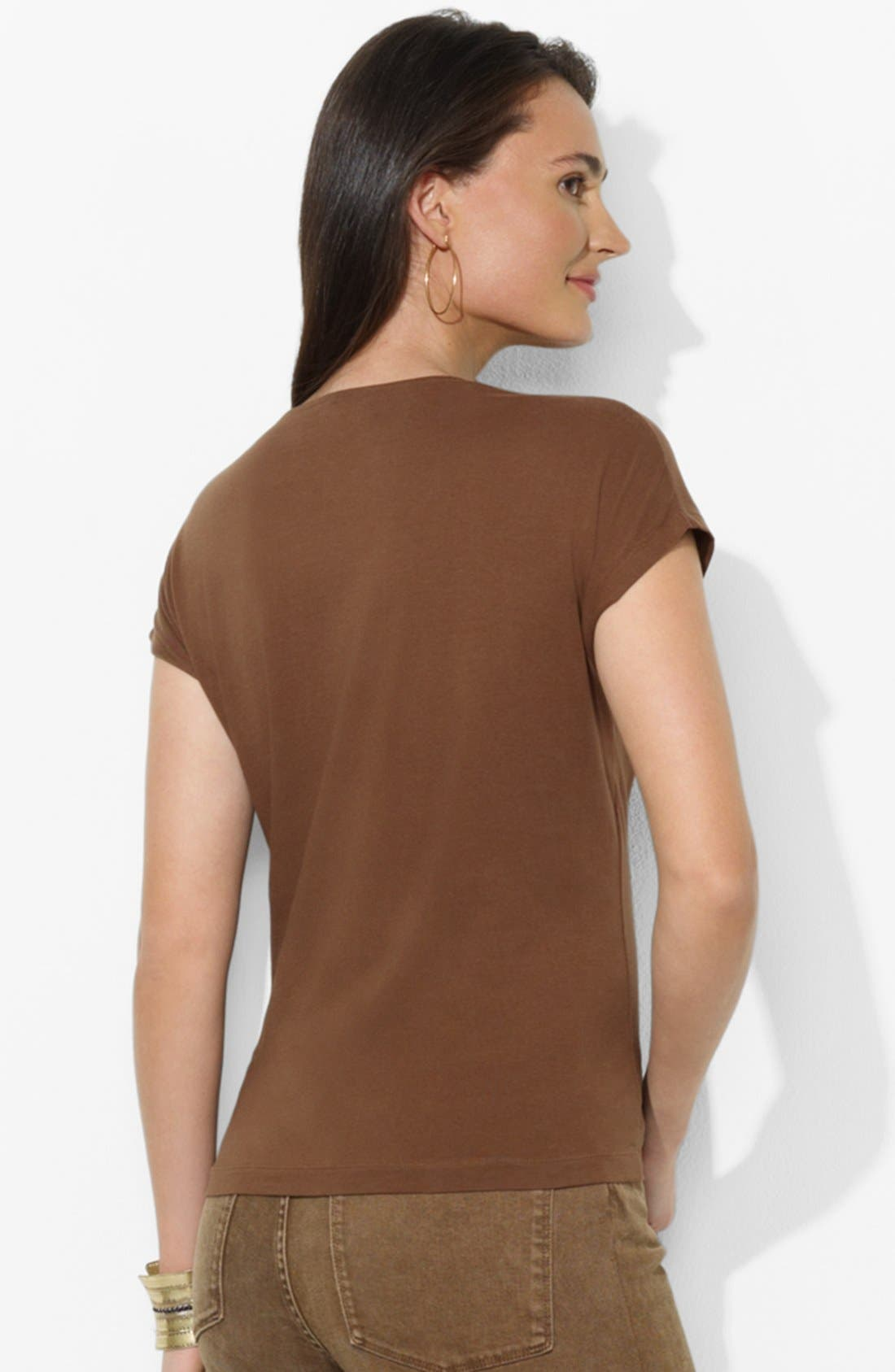 Alternate Image 2  - Lauren Ralph Lauren Beaded V-Neck Tee (Petite)