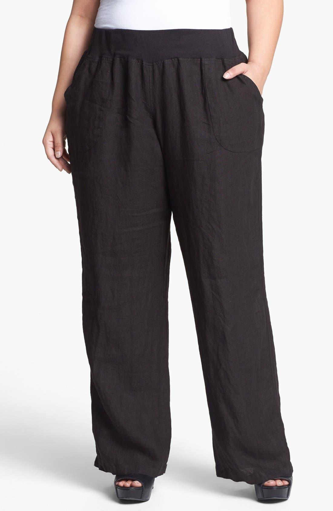 Main Image - Allen Allen Wide Leg Linen Pants (Plus Size)