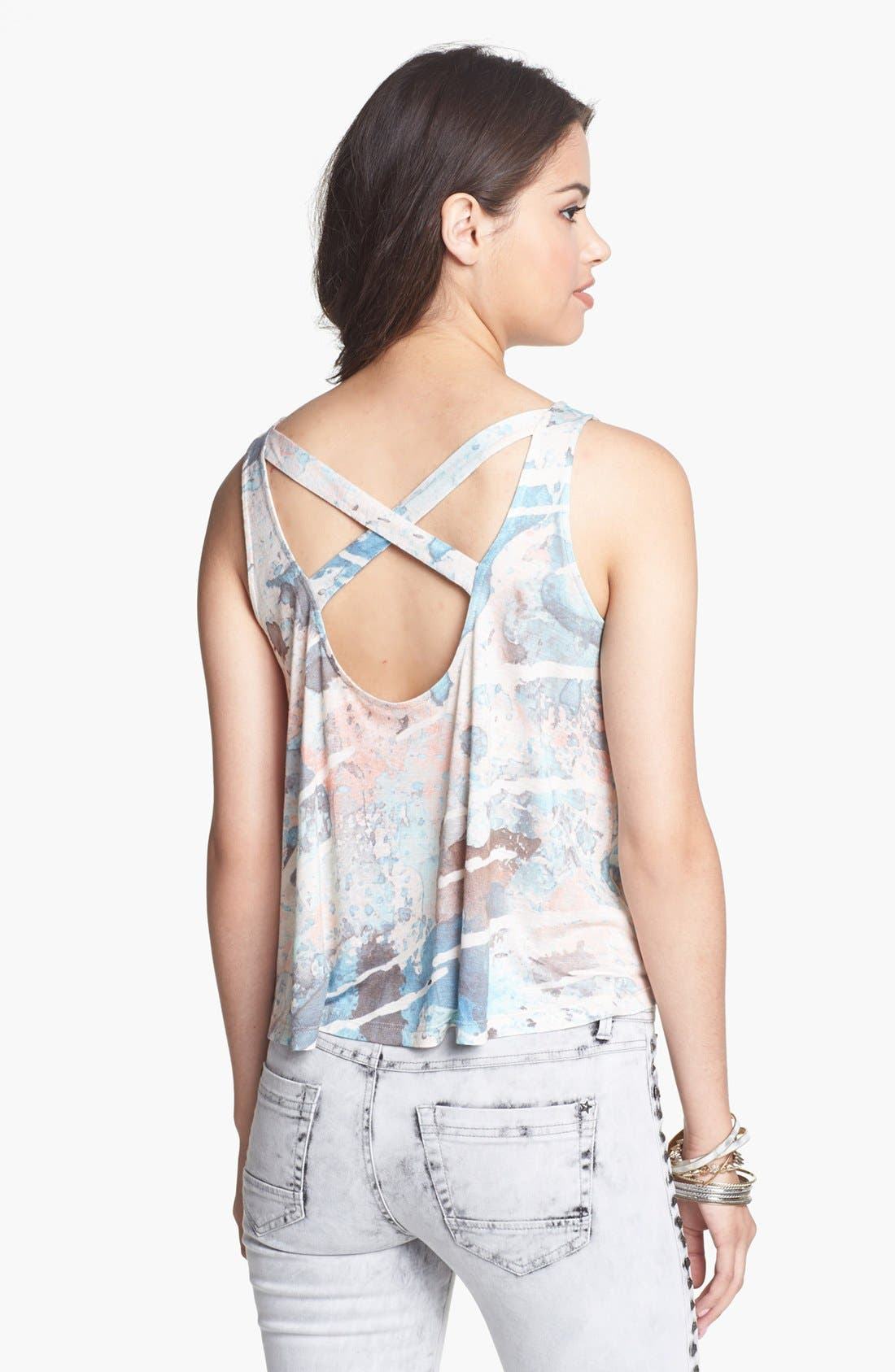 Alternate Image 2  - Soprano Cross Back Print Tank (Juniors)