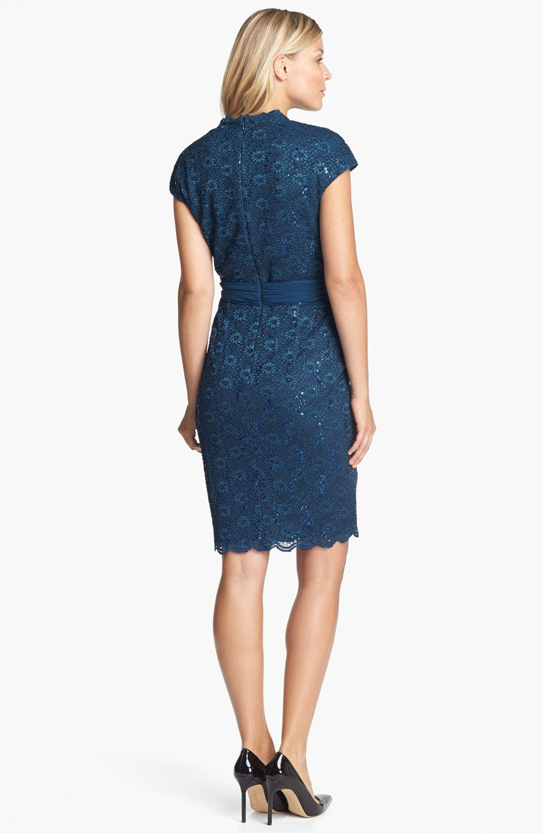 Alternate Image 2  - Alex Evenings Scalloped Lace Surplice Dress
