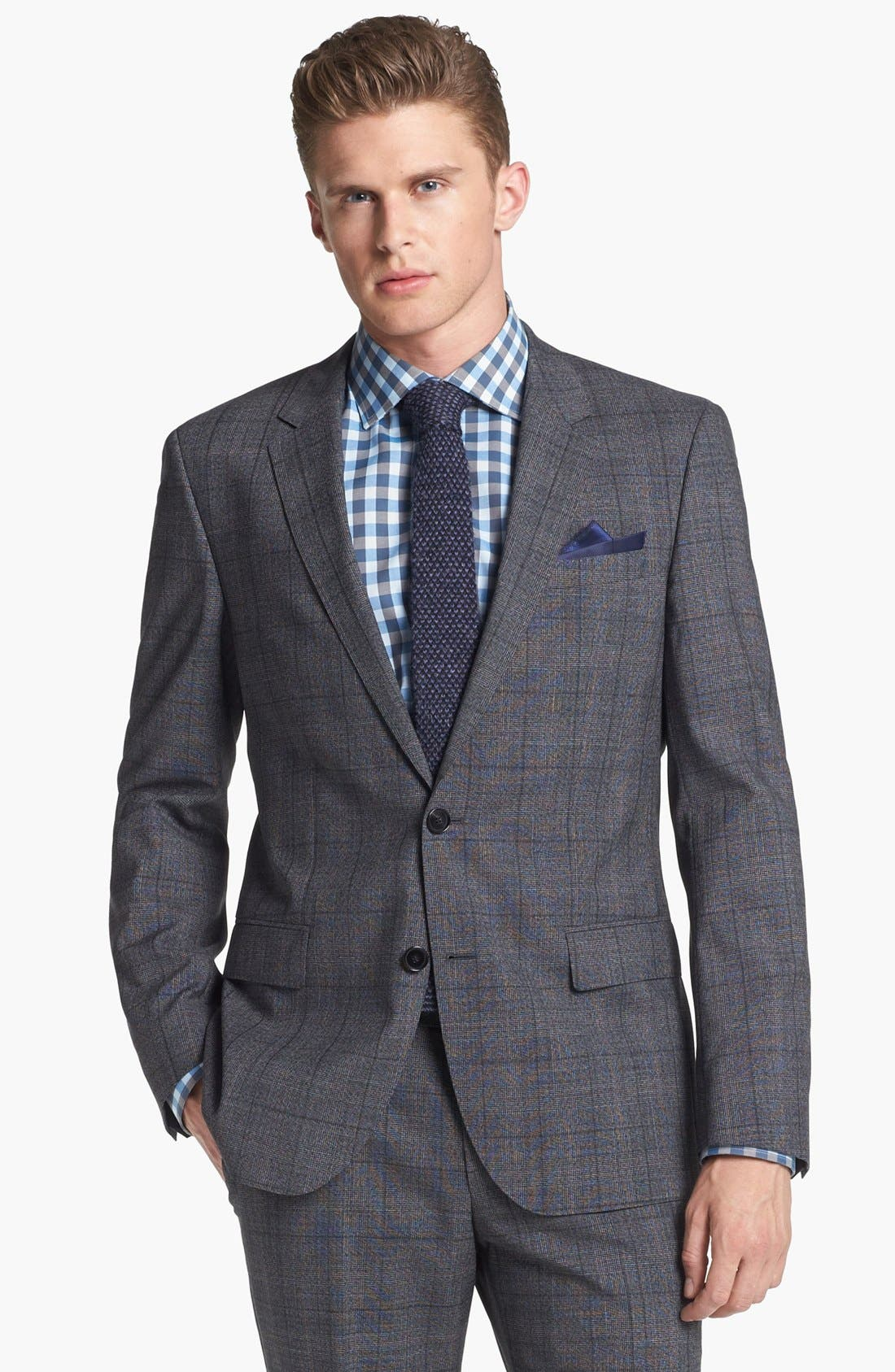 Alternate Image 4  - BOSS HUGO BOSS 'Huge/Genius' Trim Fit Plaid Suit