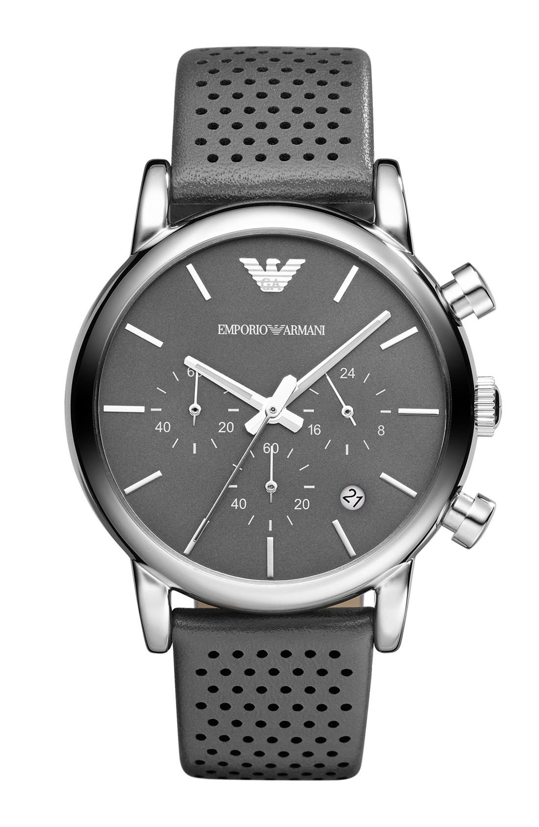 Alternate Image 1 Selected - Emporio Armani Perforated Leather Strap Watch, 41mm