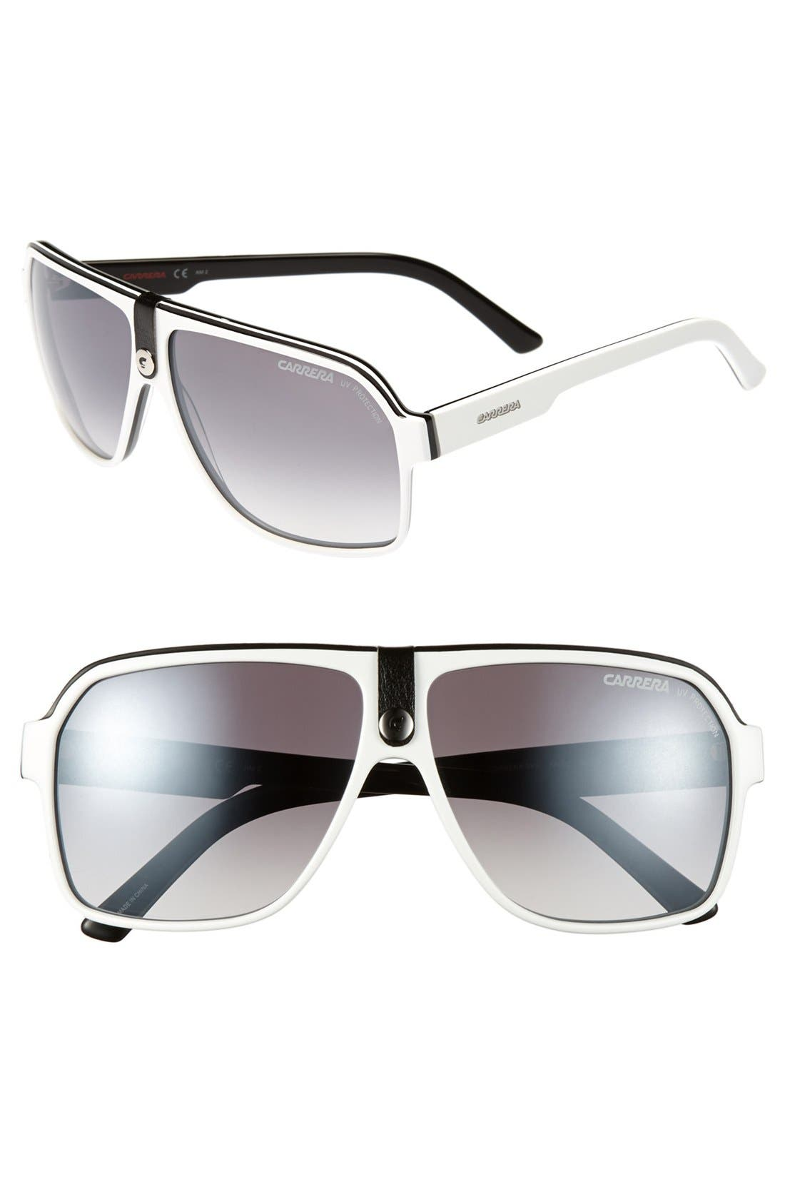 62mm Aviator Sunglasses,                             Main thumbnail 1, color,                             White