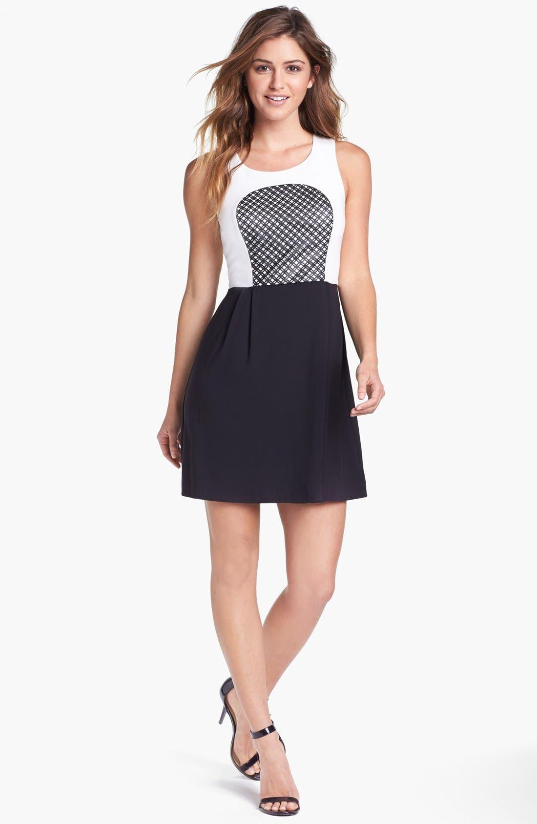 Main Image - kensie Laser Cut Faux Leather Inset Colorblock Dress