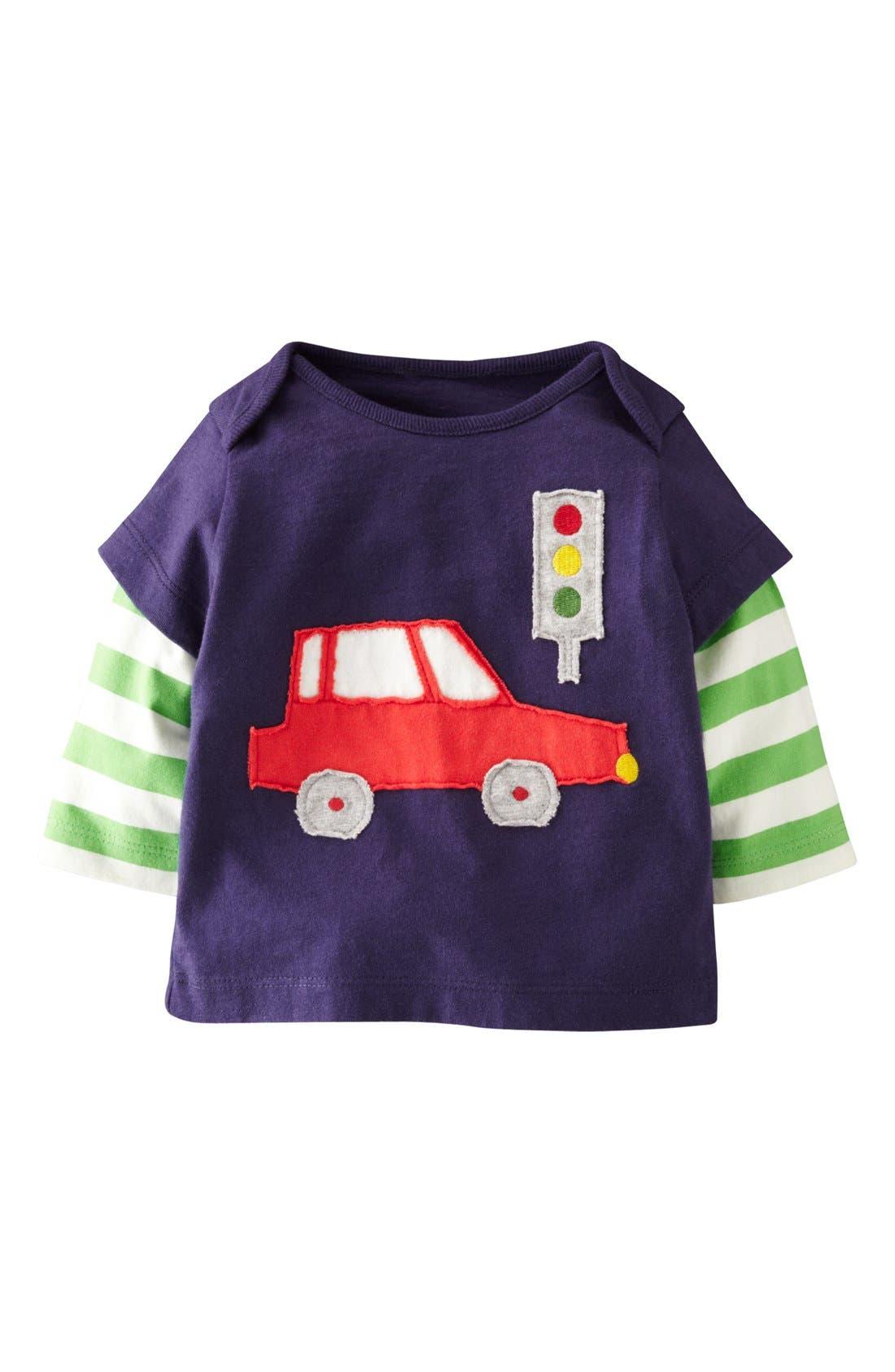 Alternate Image 1 Selected - Mini Boden 'London' Appliqué Layered Sleeve T-Shirt (Baby Boys)