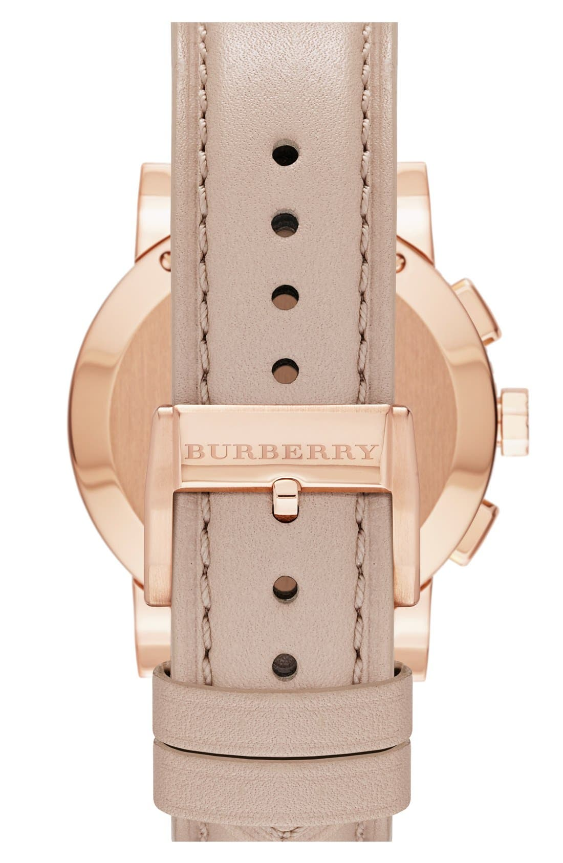 Alternate Image 2  - Burberry Check Stamped Chronograph Watch, 38mm