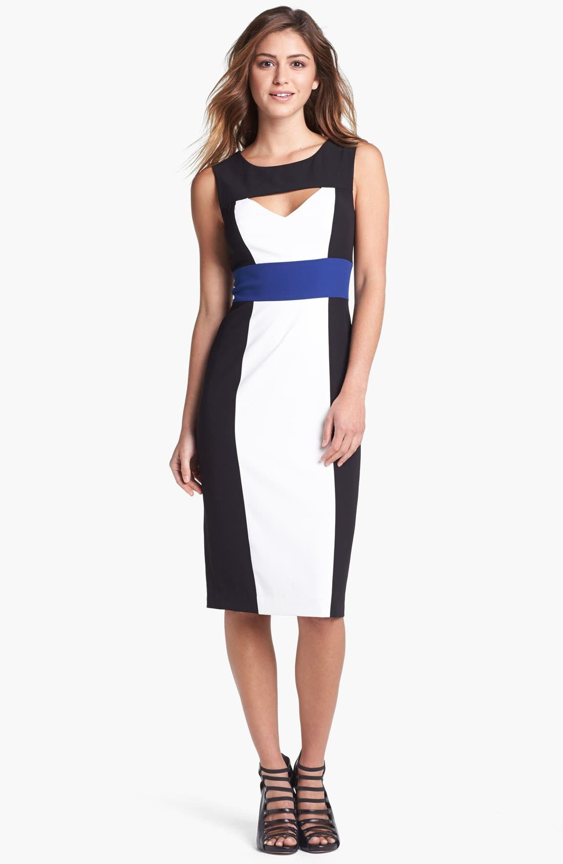 Alternate Image 1 Selected - BCBGMAXAZRIA Cutout Colorblock Sheath Dress