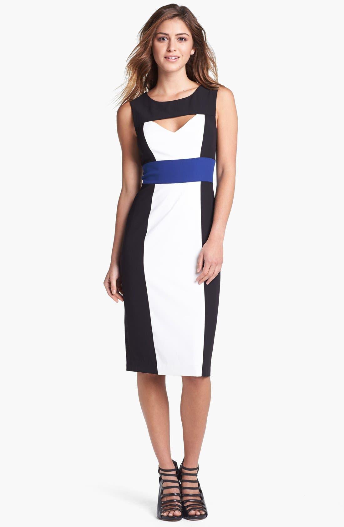 Main Image - BCBGMAXAZRIA Cutout Colorblock Sheath Dress