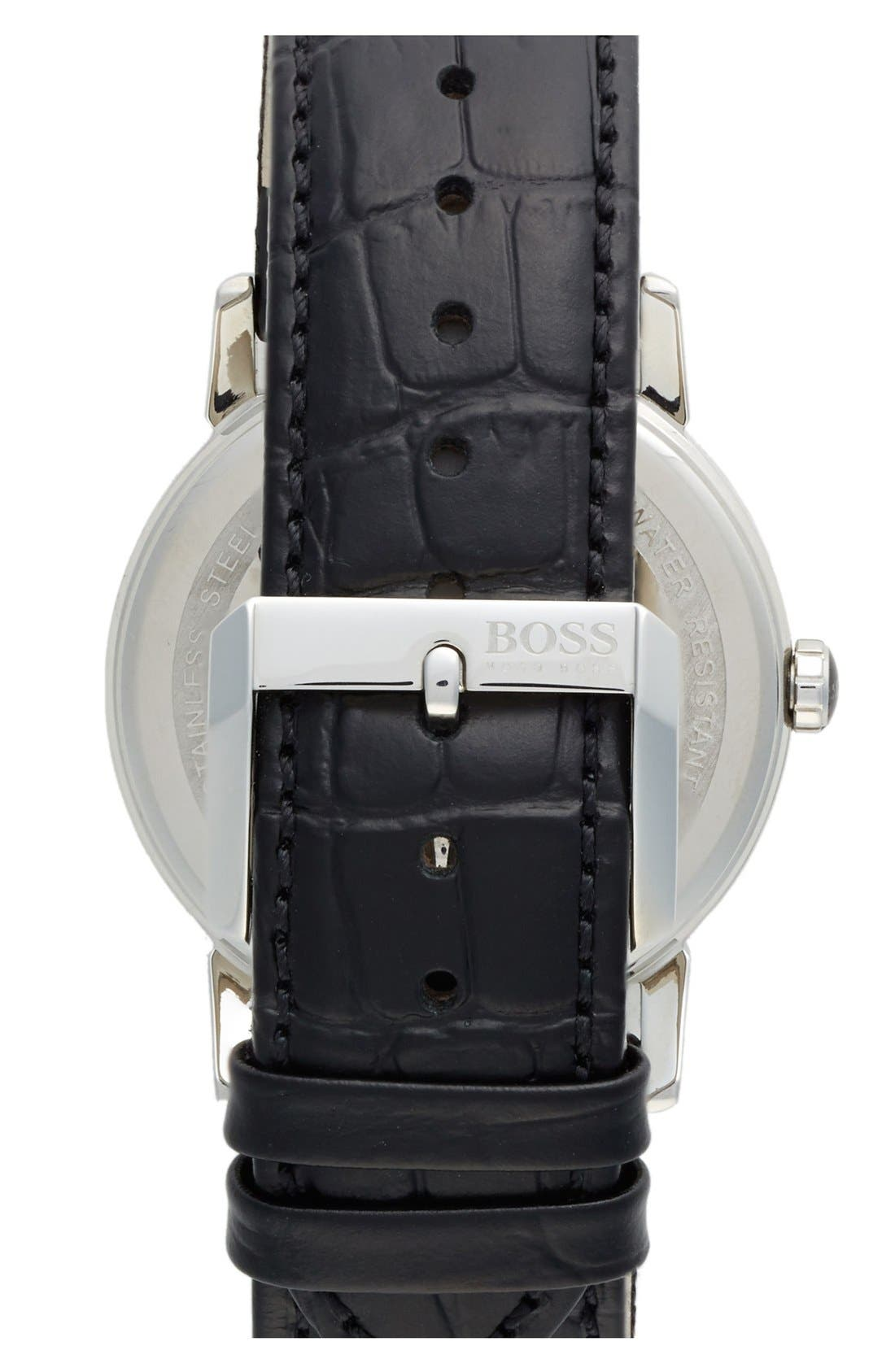 Alternate Image 2  - BOSS HUGO BOSS Round Leather Strap Watch, 40mm