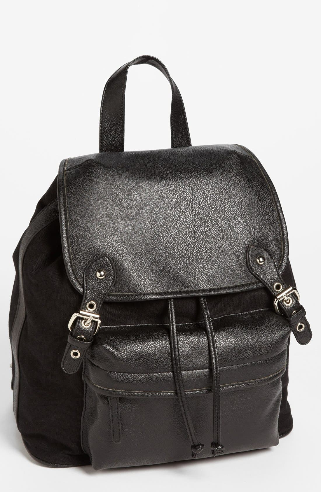 Main Image - Collection B Faux Leather & Canvas Backpack (Juniors)