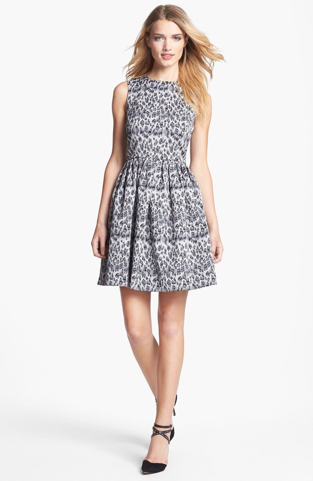 Sleeveless Jacquard Fit & Flare Dress,                         Main,                         color, Platinum/ Black