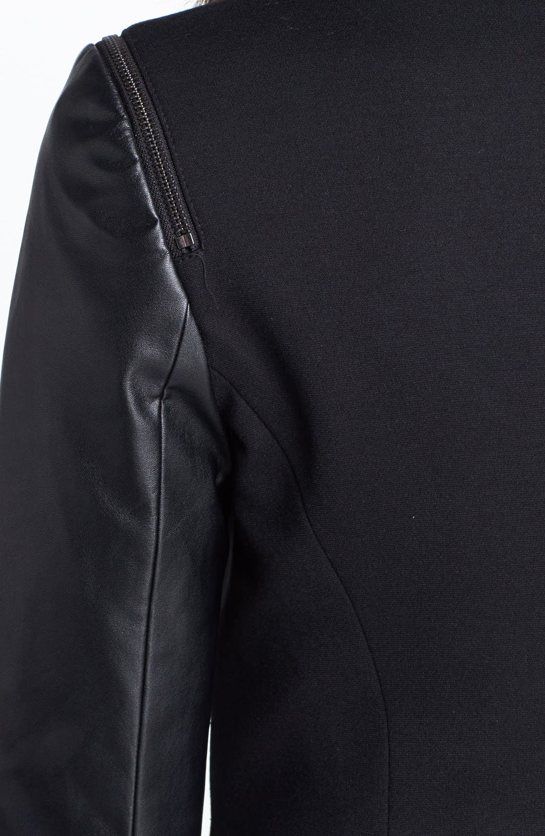 Alternate Image 3  - Vince Camuto Collarless Faux Leather Sleeve Jacket