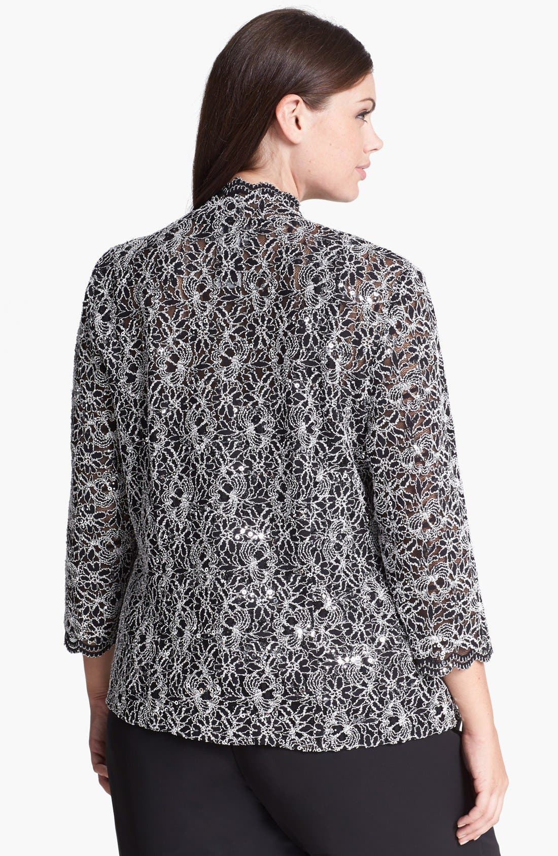 Alternate Image 2  - Alex Evenings Embellished Lace Twinset (Plus Size)