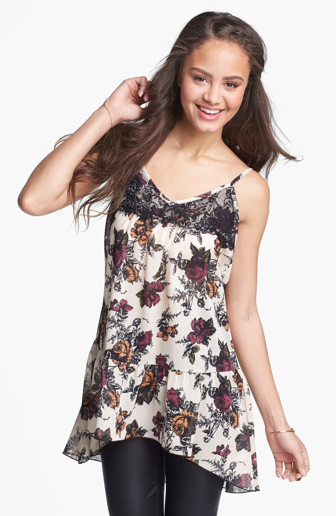 Alternate Image 1 Selected - Lily White Floral Print Babydoll Tank (Juniors)