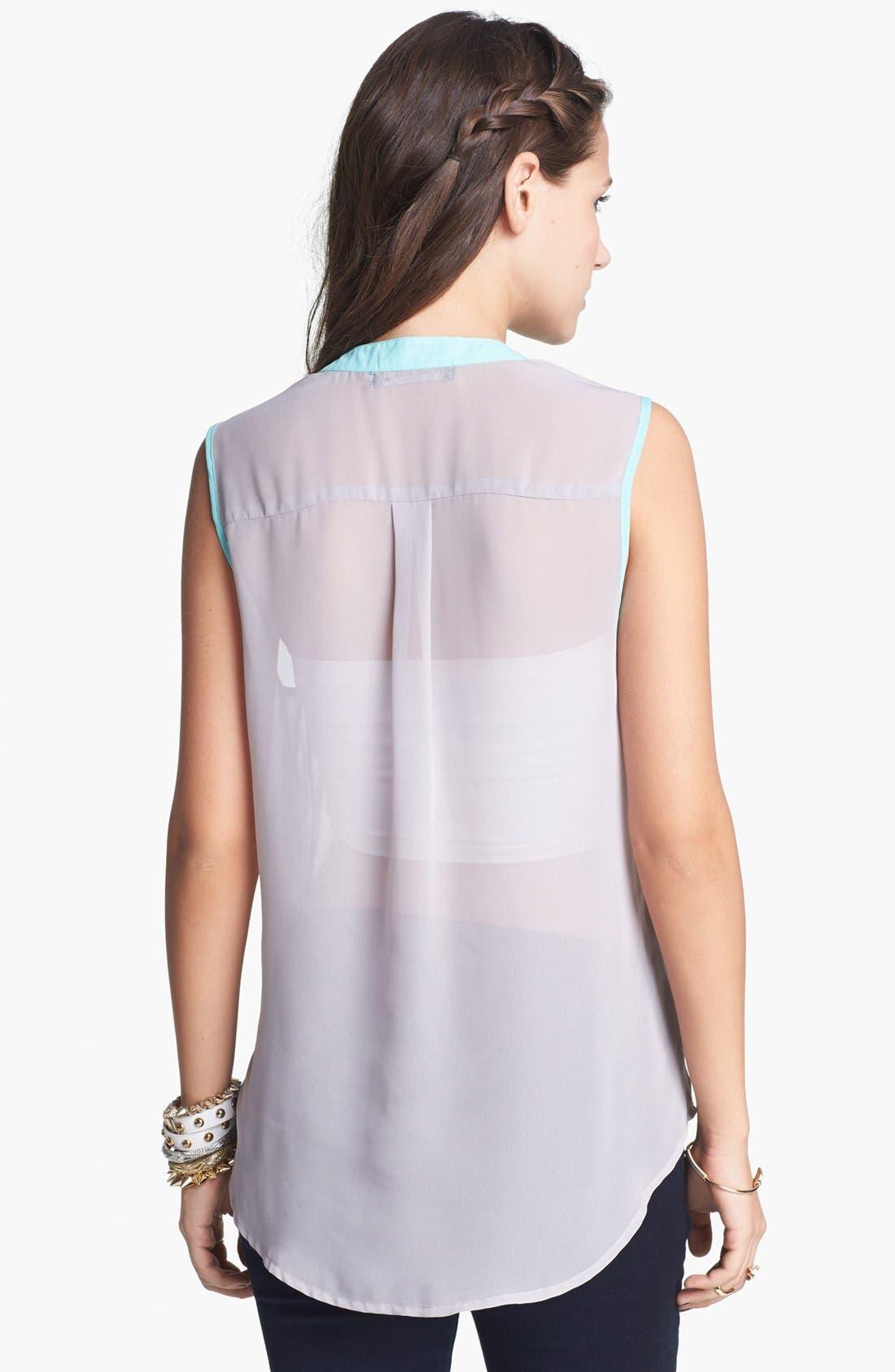 Alternate Image 2  - Living Doll Contrast Trim Henley Shirt (Juniors)