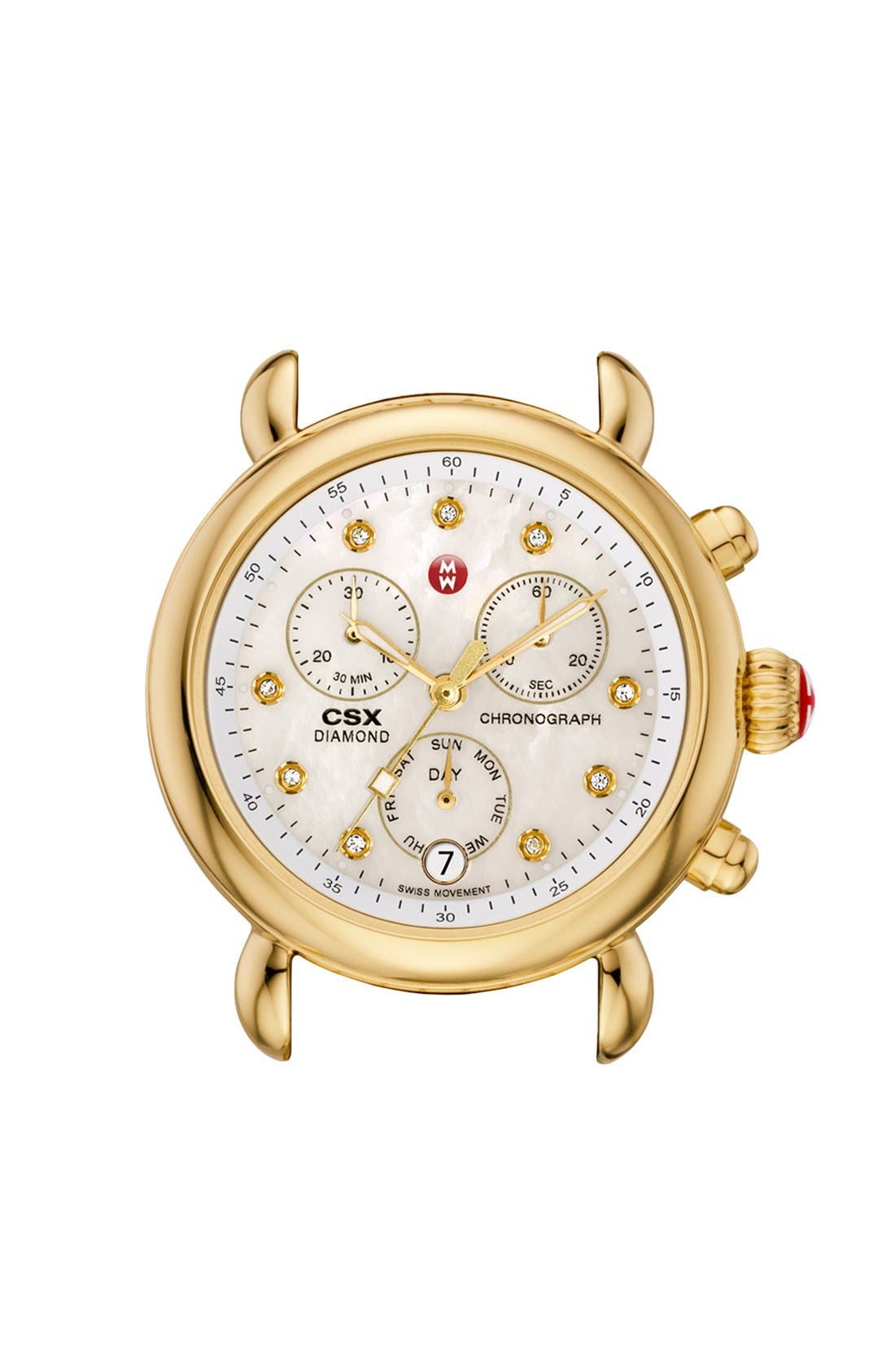 Main Image - MICHELE 'CSX-36' Diamond Dial Gold Plated Watch Case, 36mm