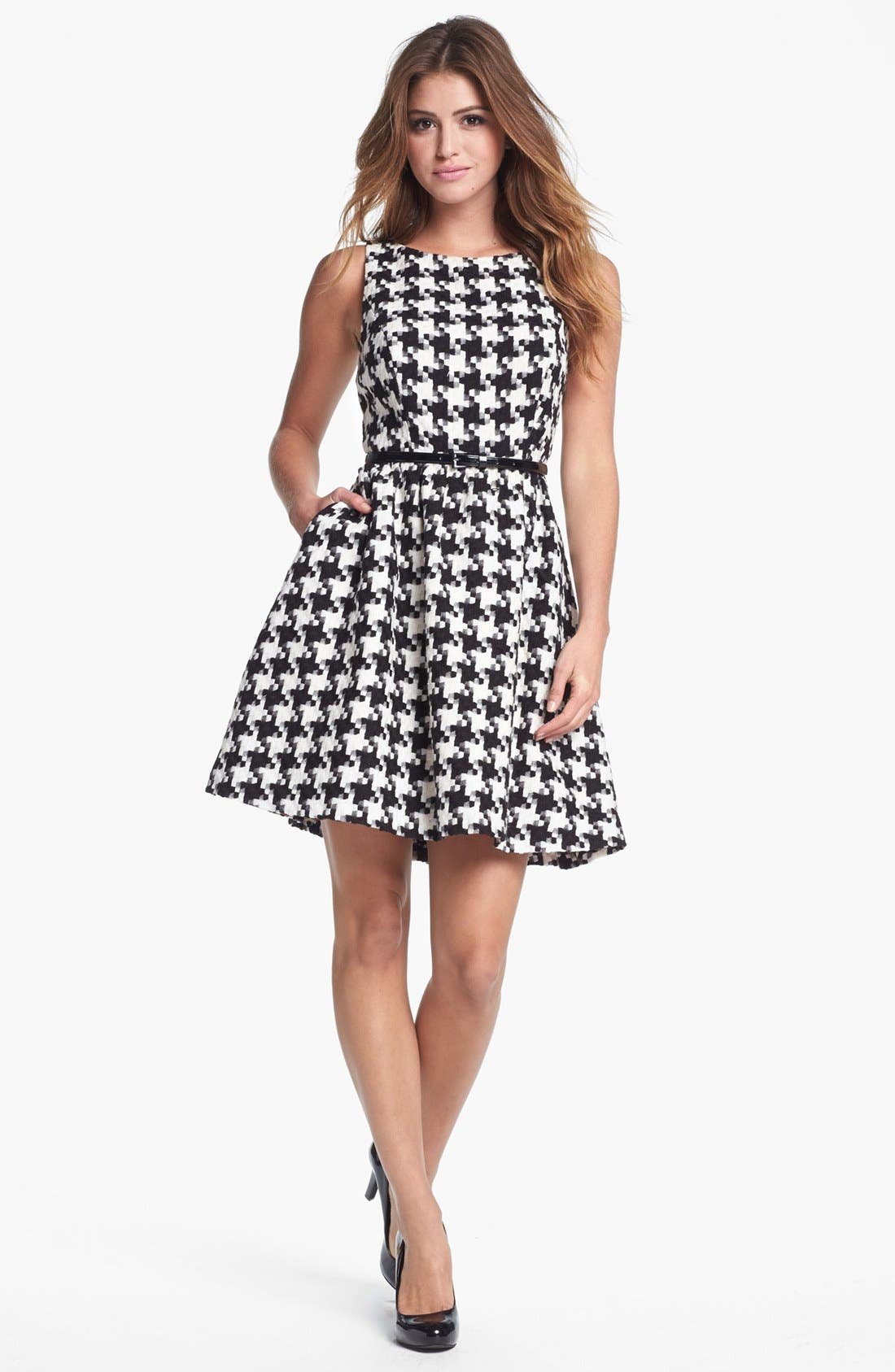 Houndstooth Jacquard Fit & Flare Dress,                         Main,                         color, Black/ White