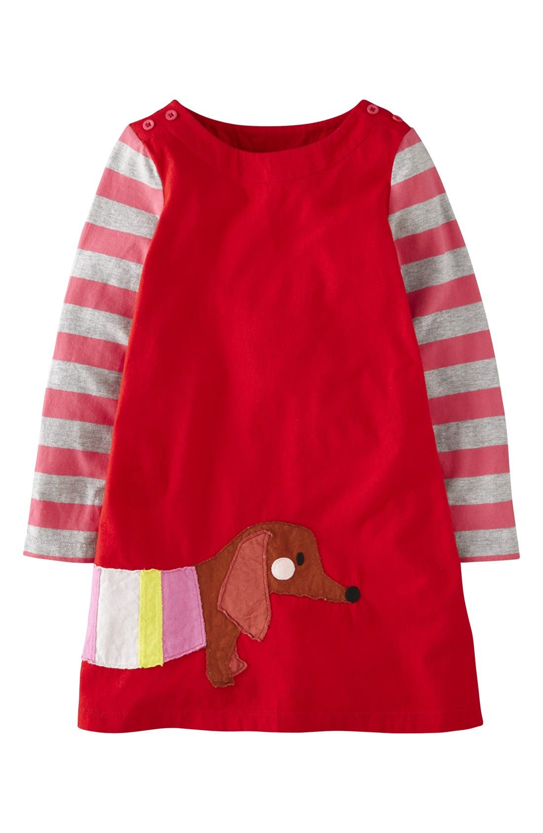 Alternate Image 1 Selected - Mini Boden 'Fun' Appliqué Dress (Toddler Girls, Little Girls & Big Girls)