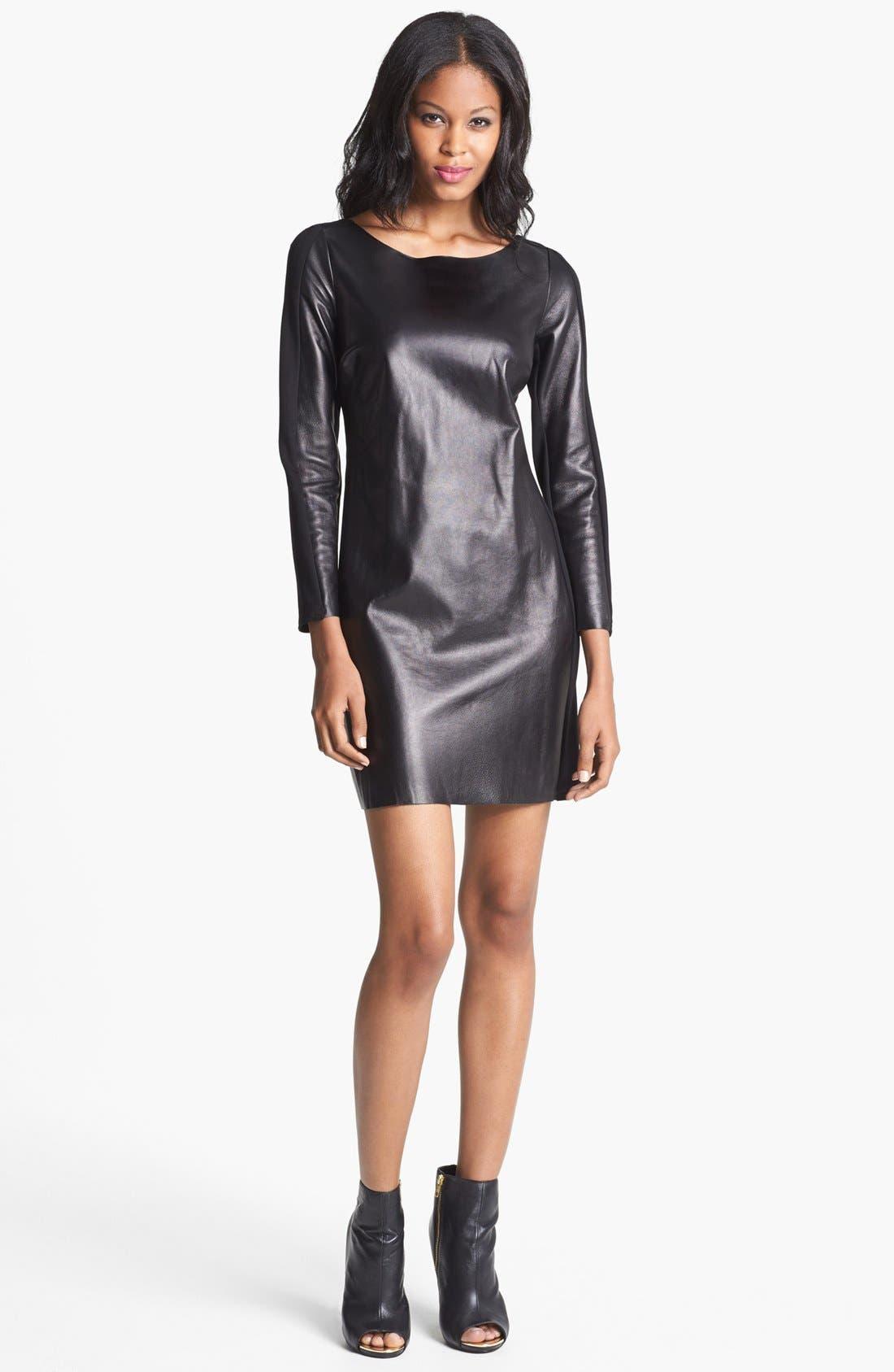 Alternate Image 1 Selected - ALICE & TRIXIE 'Lourdes' Leather & Ponte Knit Dress