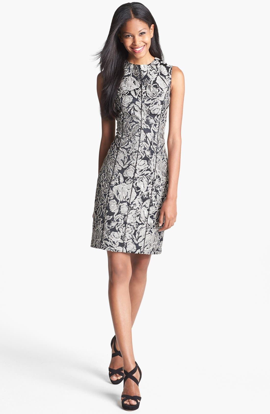Main Image - Aidan Mattox Textured Floral Sheath Dress