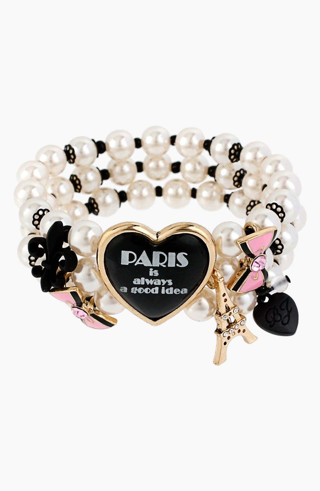 Alternate Image 2  - Betsey Johnson 'Paris' Faux Pearl & Heart Stretch Bracelet