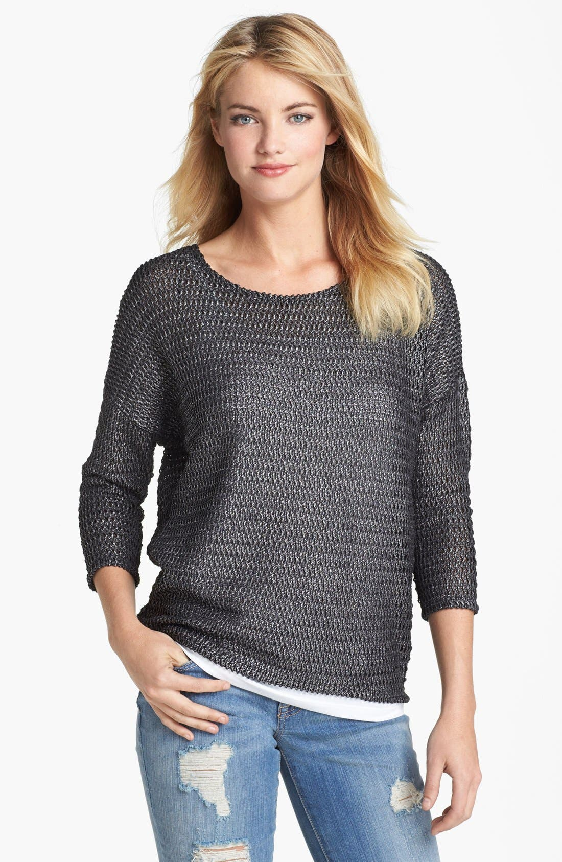 Alternate Image 1 Selected - Two by Vince Camuto Metallic Open Knit Sweater