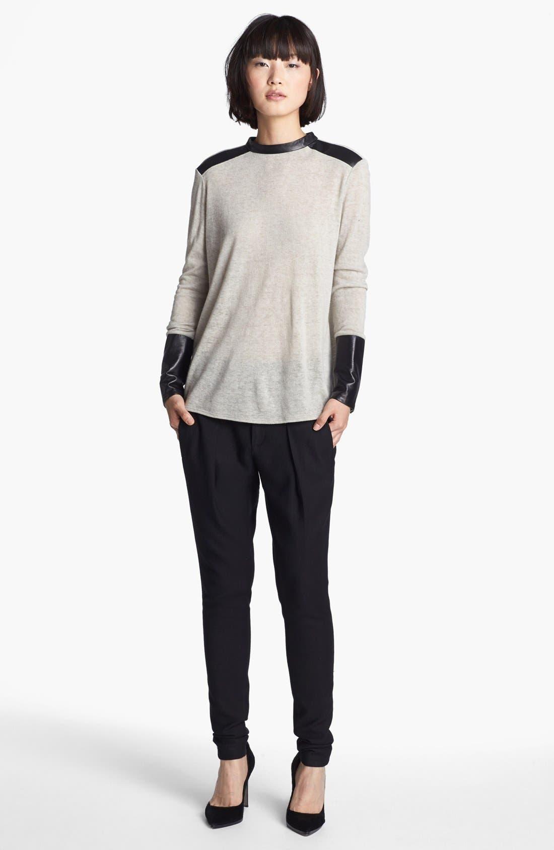 Alternate Image 2  - Helmut Lang Leather Trim Knit Top