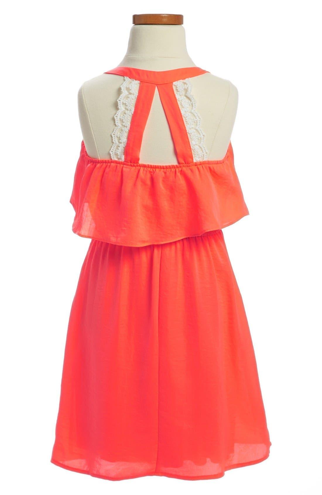 Alternate Image 2  - Paper Doll Lace Back Popover Dress (Little Girls & Big Girls)