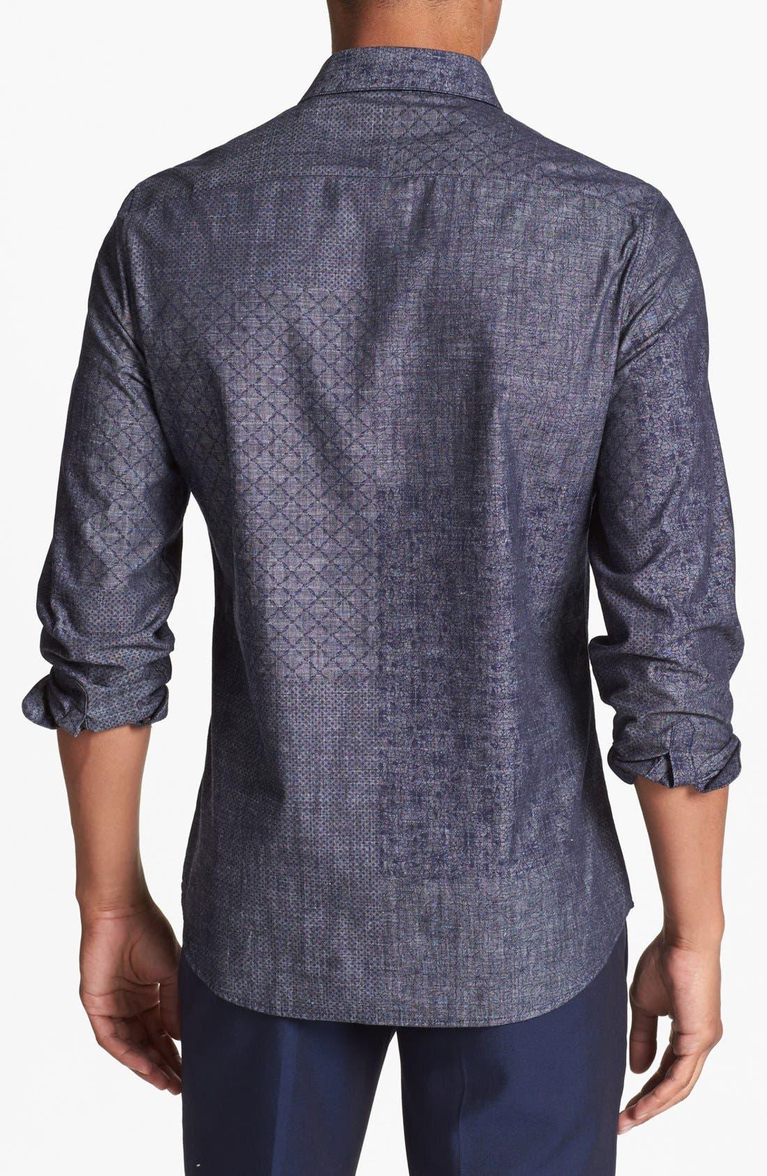 Alternate Image 2  - Topman Mix Print Pattern Chambray Shirt