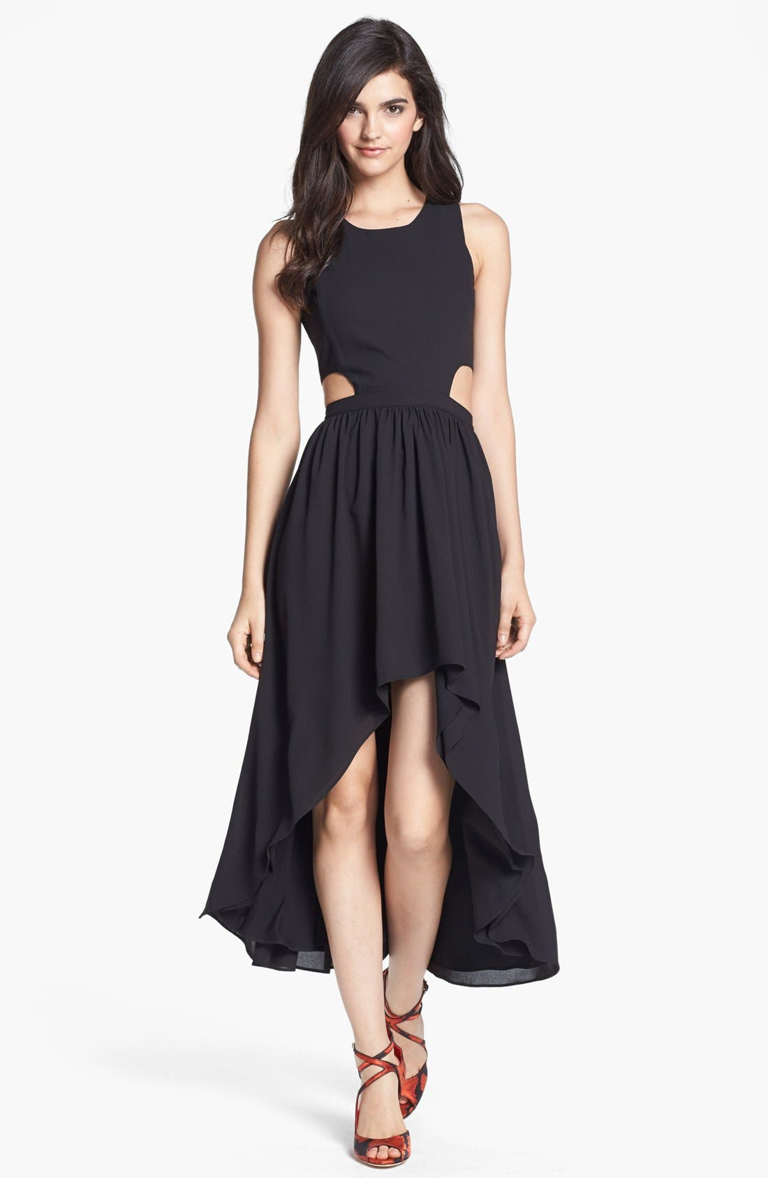Alternate Image 1 Selected - Lovers + Friends 'Foxy' Cutout High/Low Midi Dress