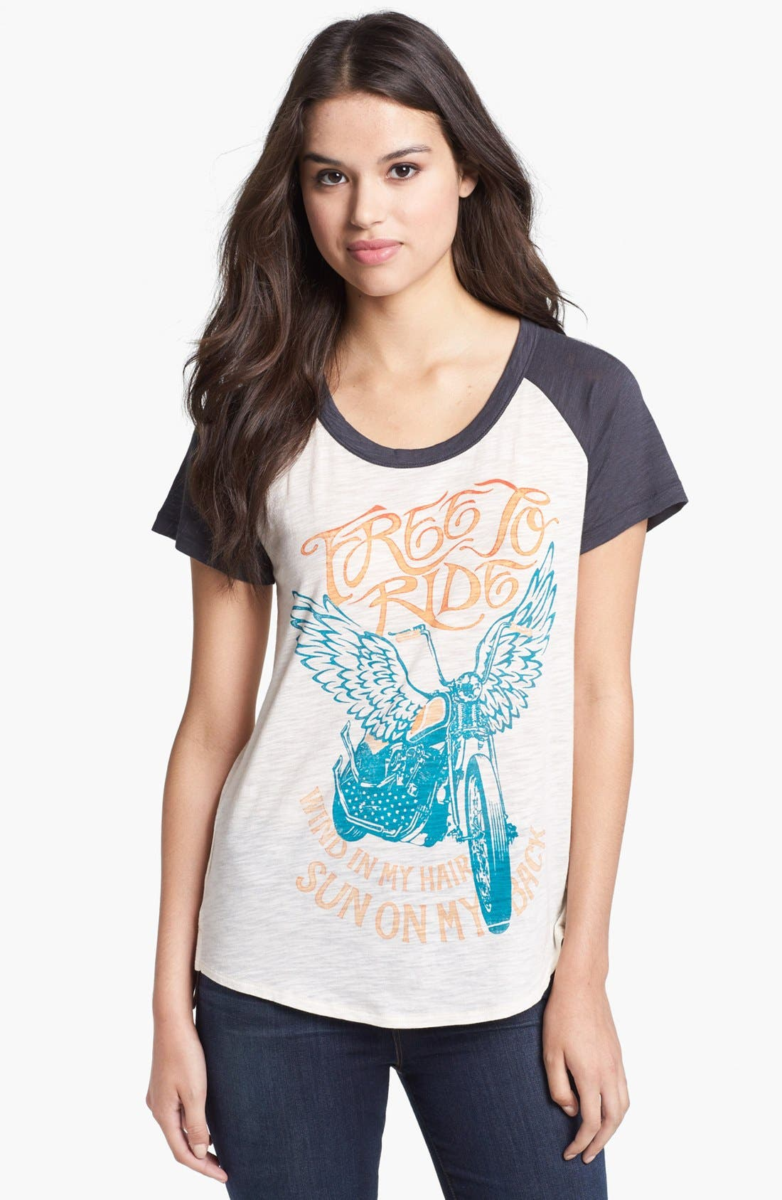 Main Image - Lucky Brand Zip Back Graphic Tee
