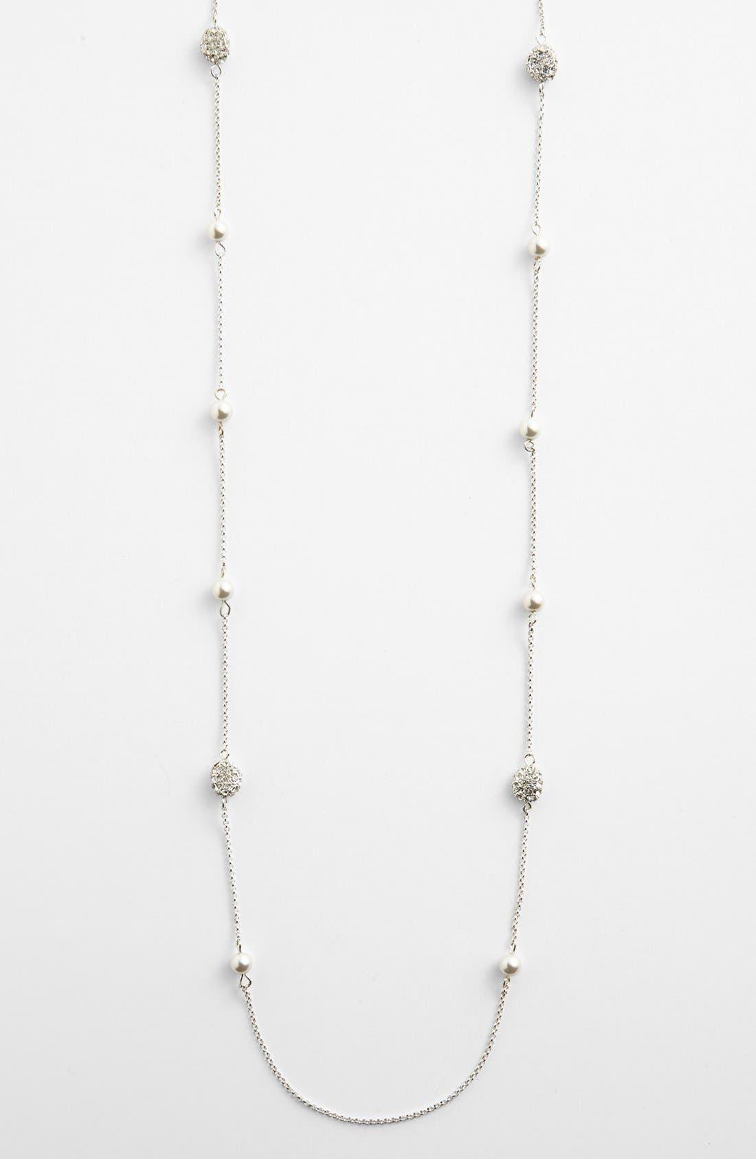 Alternate Image 2  - Lauren Ralph Lauren Long Glass Pearl & Pavé Bead Illusion Necklace
