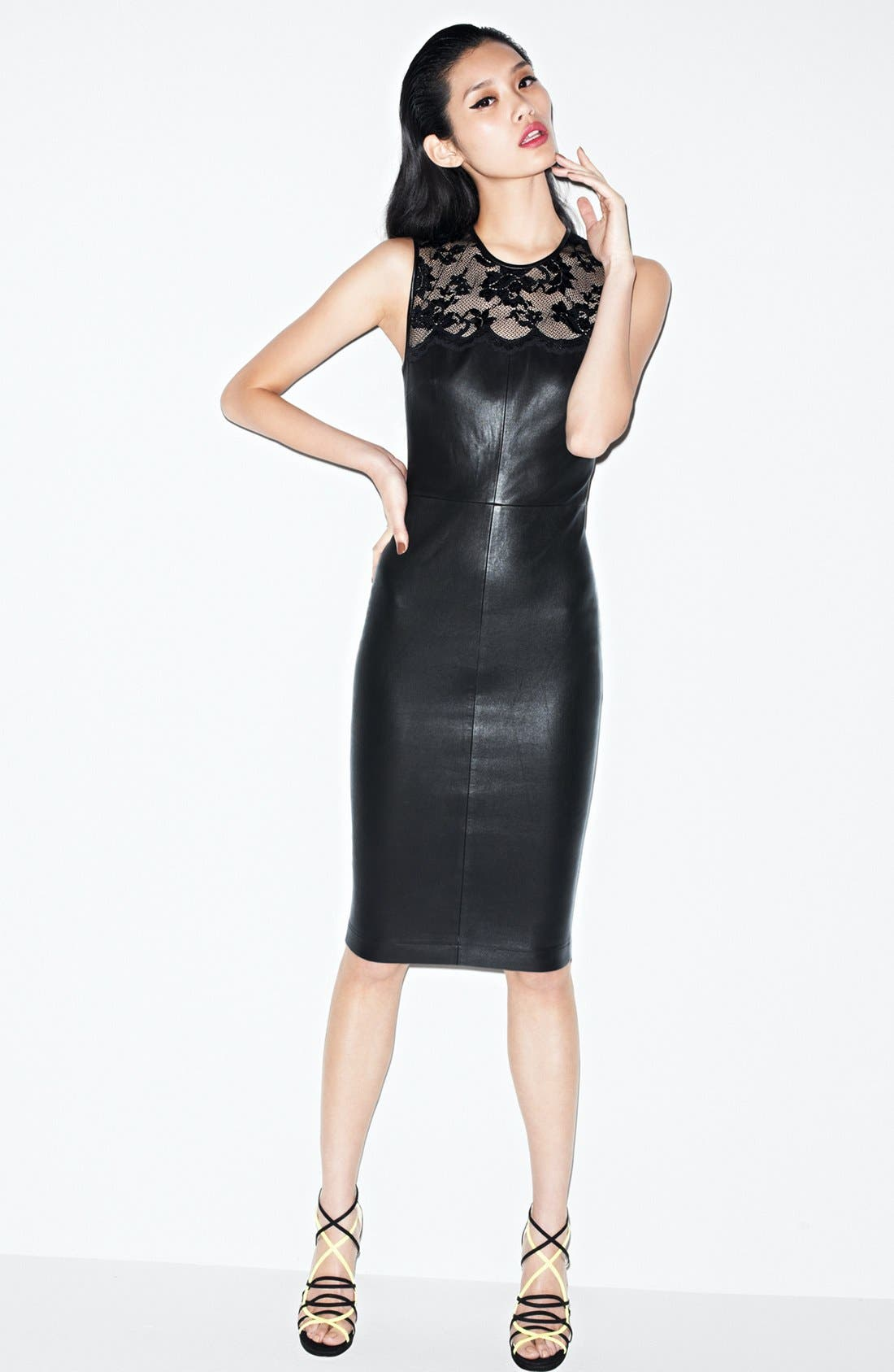 Alternate Image 4  - Robert Rodriguez Lace Detail Stretch Leather Dress