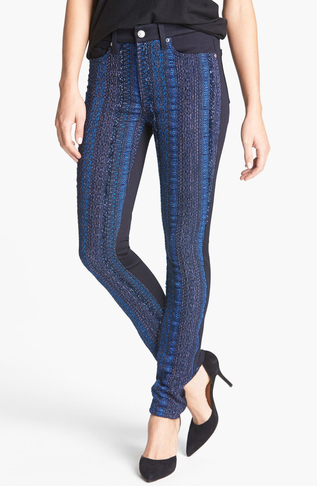 Main Image - 7 For All Mankind® 'Malhia Kent - The Pieced Skinny' Jacquard Jeans (Blue Metallic Stripe)