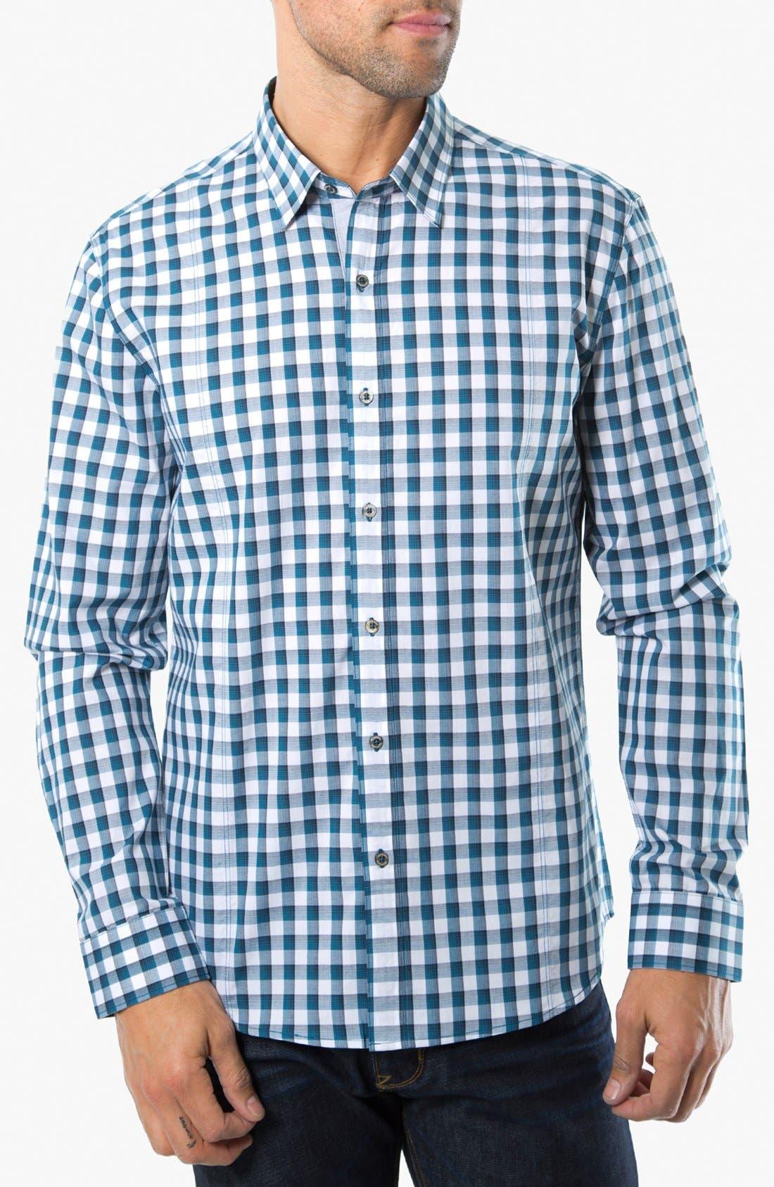 Main Image - 7 Diamonds 'One Day Away' Gingham Trim Fit Cotton Sport Shirt
