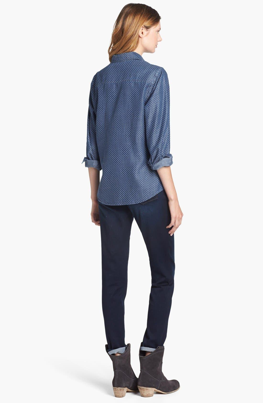 Alternate Image 3  - Foxcroft Dotted Denim Shirt