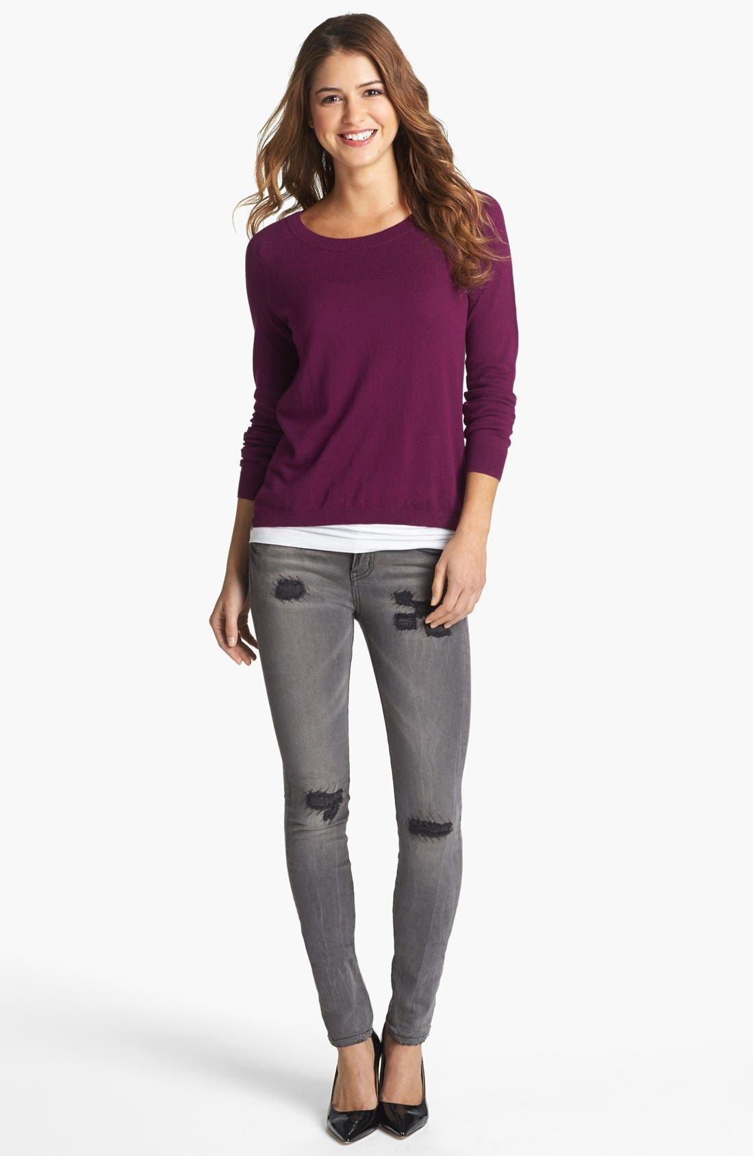 Alternate Image 1 Selected - Caslon® Crewneck High/Low Sweater