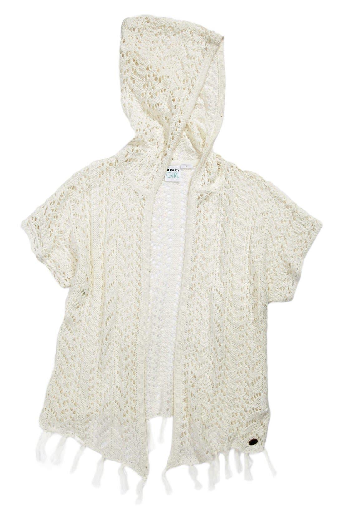 Main Image - 'Dancing Waves' Crochet Hooded Sweater (Big Girls)