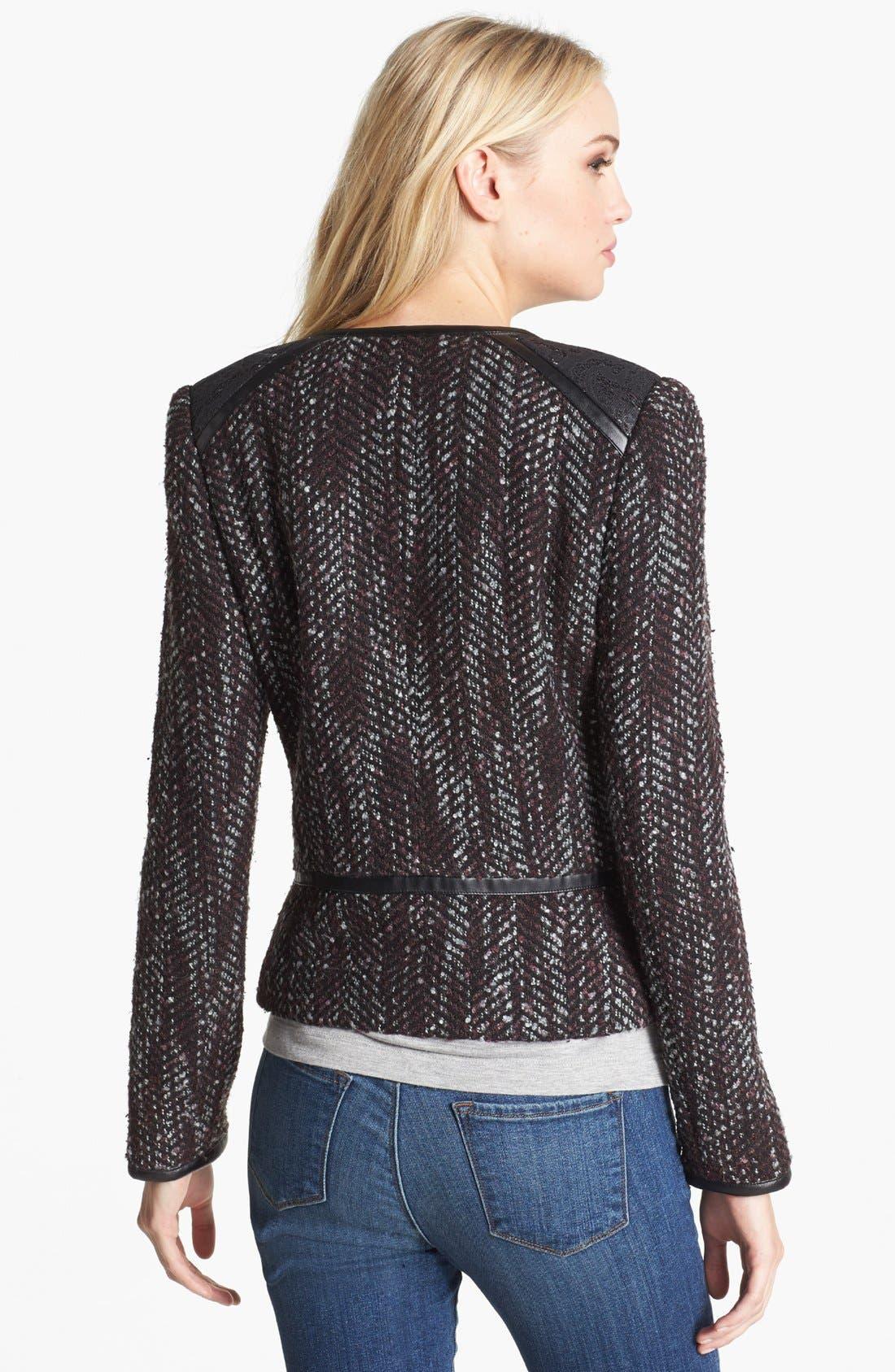Alternate Image 2  - Hinge Faux Leather Trim Tweed Jacket