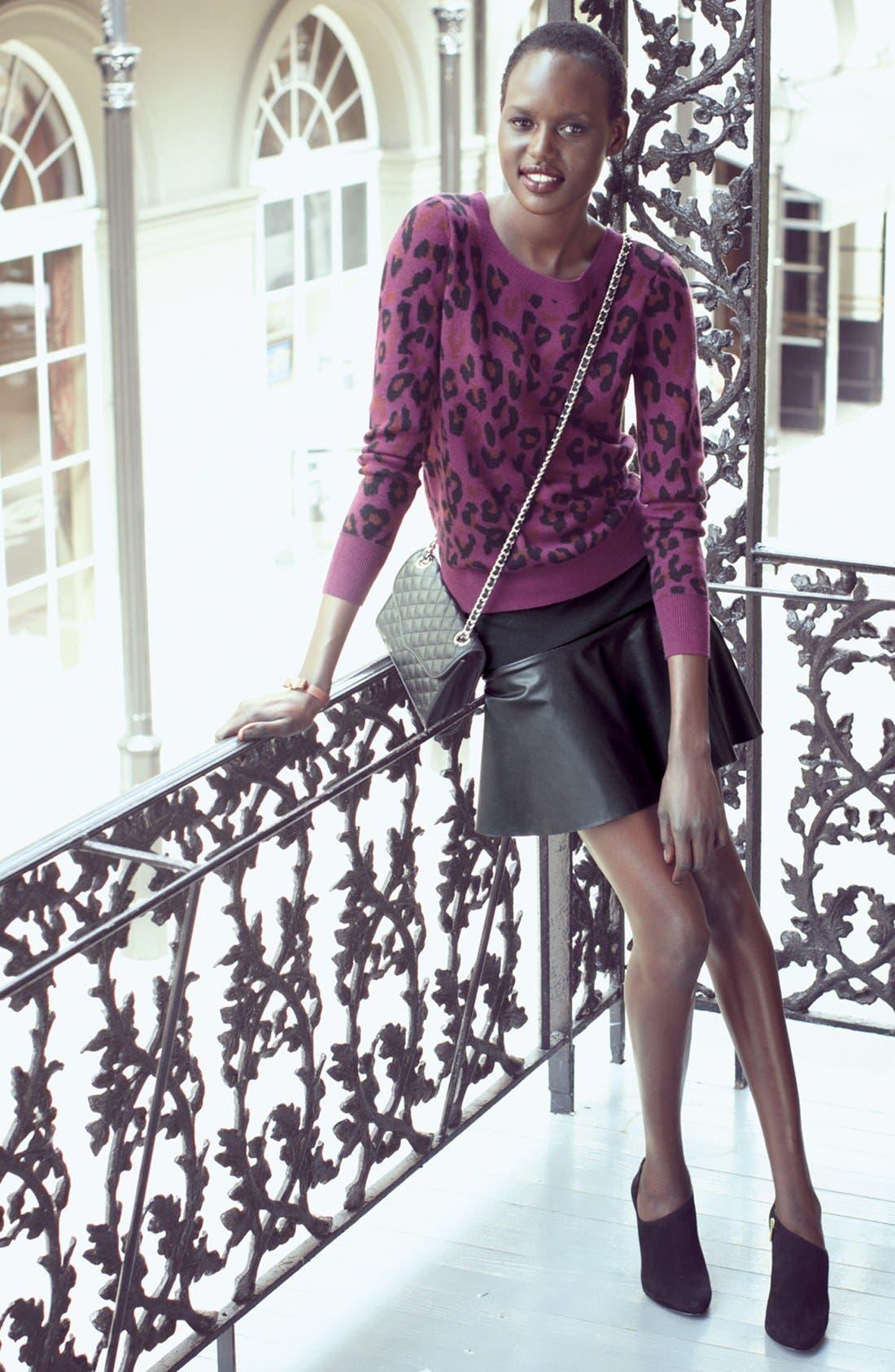 Alternate Image 6  - Halogen® Faux Leather & Ponte Flared Skirt