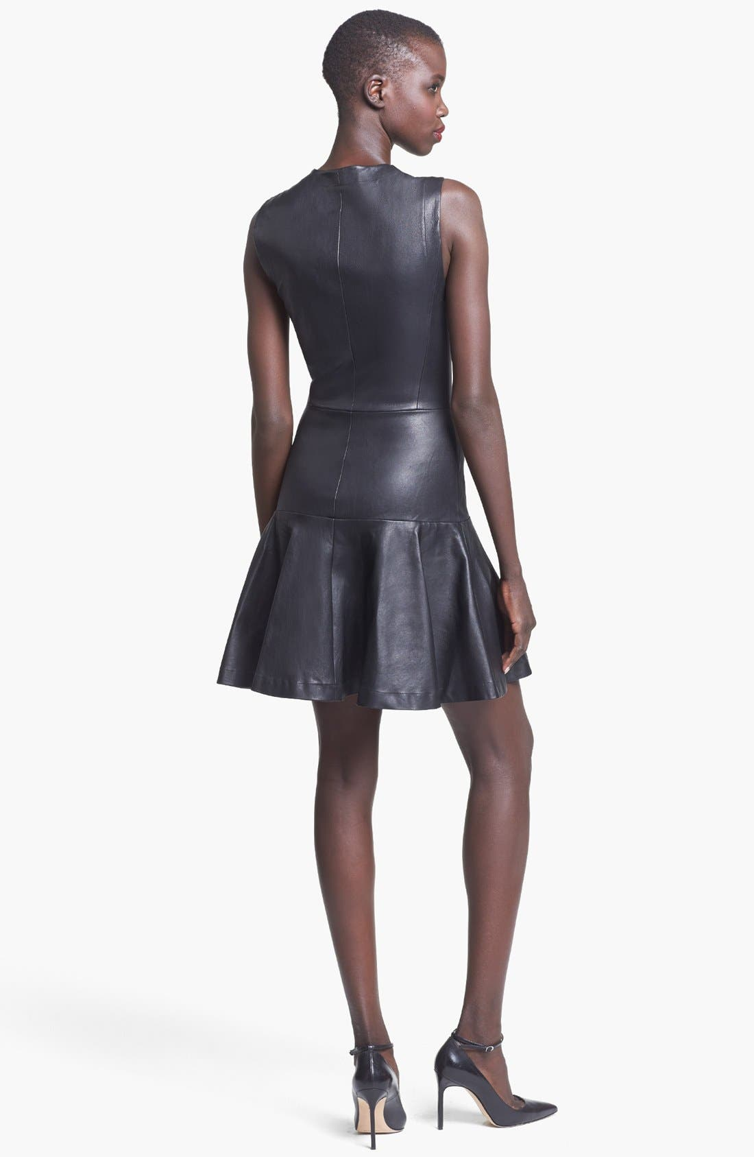 Alternate Image 2  - Robert Rodriguez Fitted Stretch Leather Dress