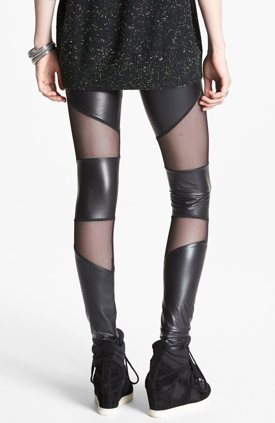Alternate Image 2  - Lush Mesh Inset Faux Leather Leggings (Juniors) (Online Only)