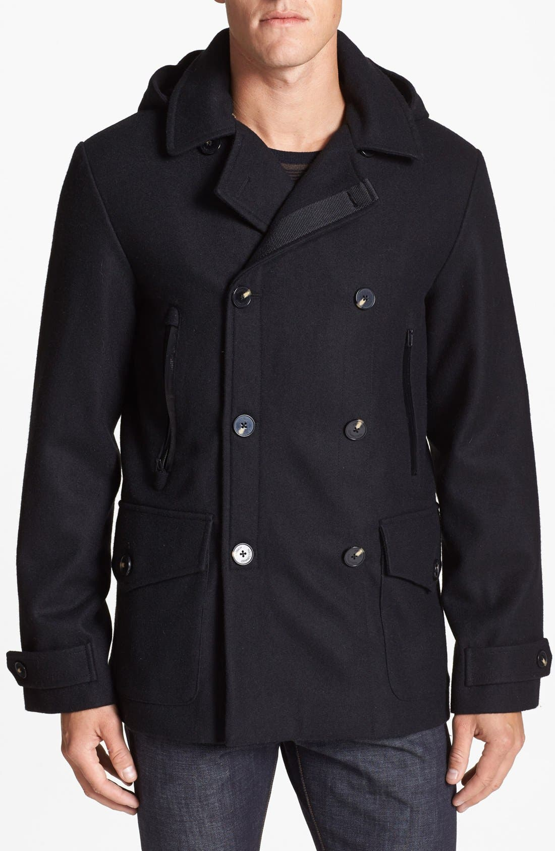 Main Image - French Connection 'Marine Melton' Hooded Peacoat