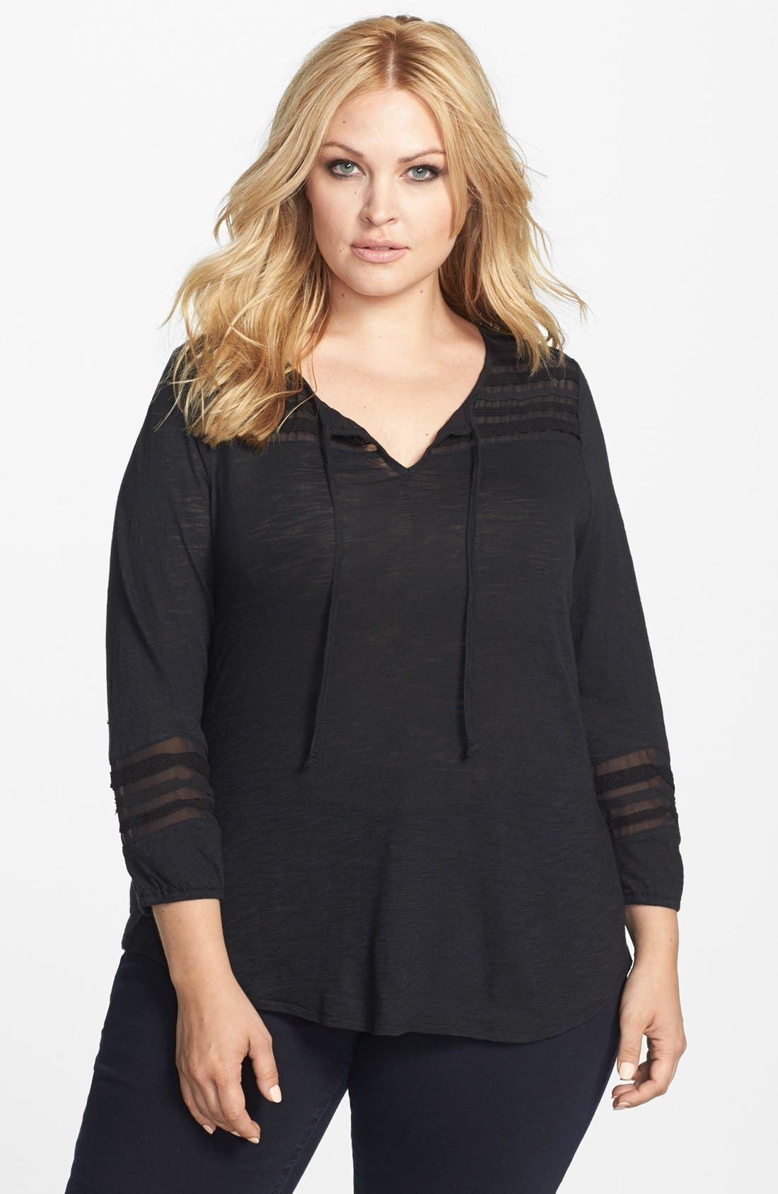 Alternate Image 1 Selected - Lucky Brand Lace & Mesh Inset Jersey Top (Plus Size)