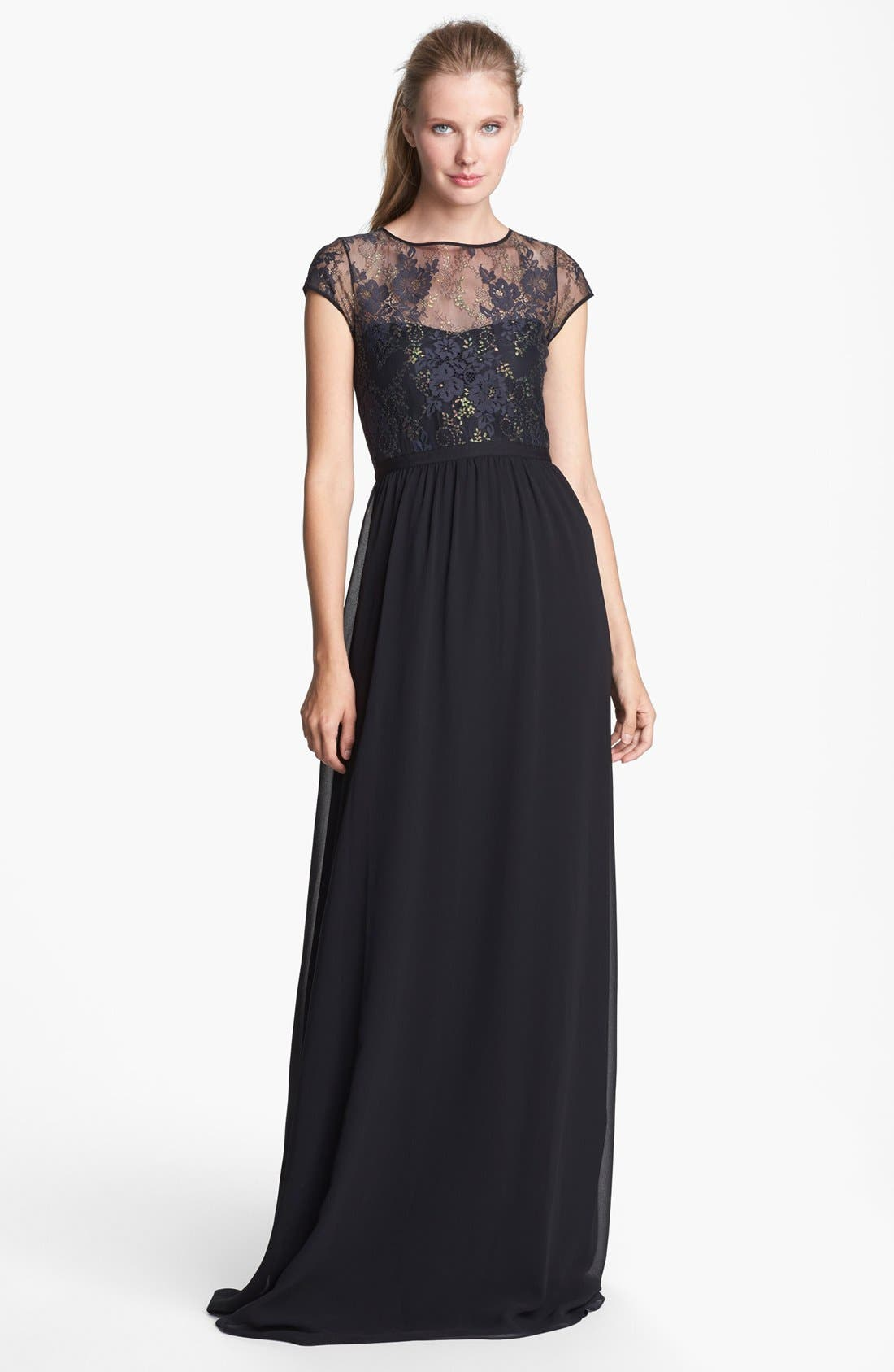 Alternate Image 1 Selected - ERIN erin fetherston 'Peyton' Illusion Yoke Chiffon Gown